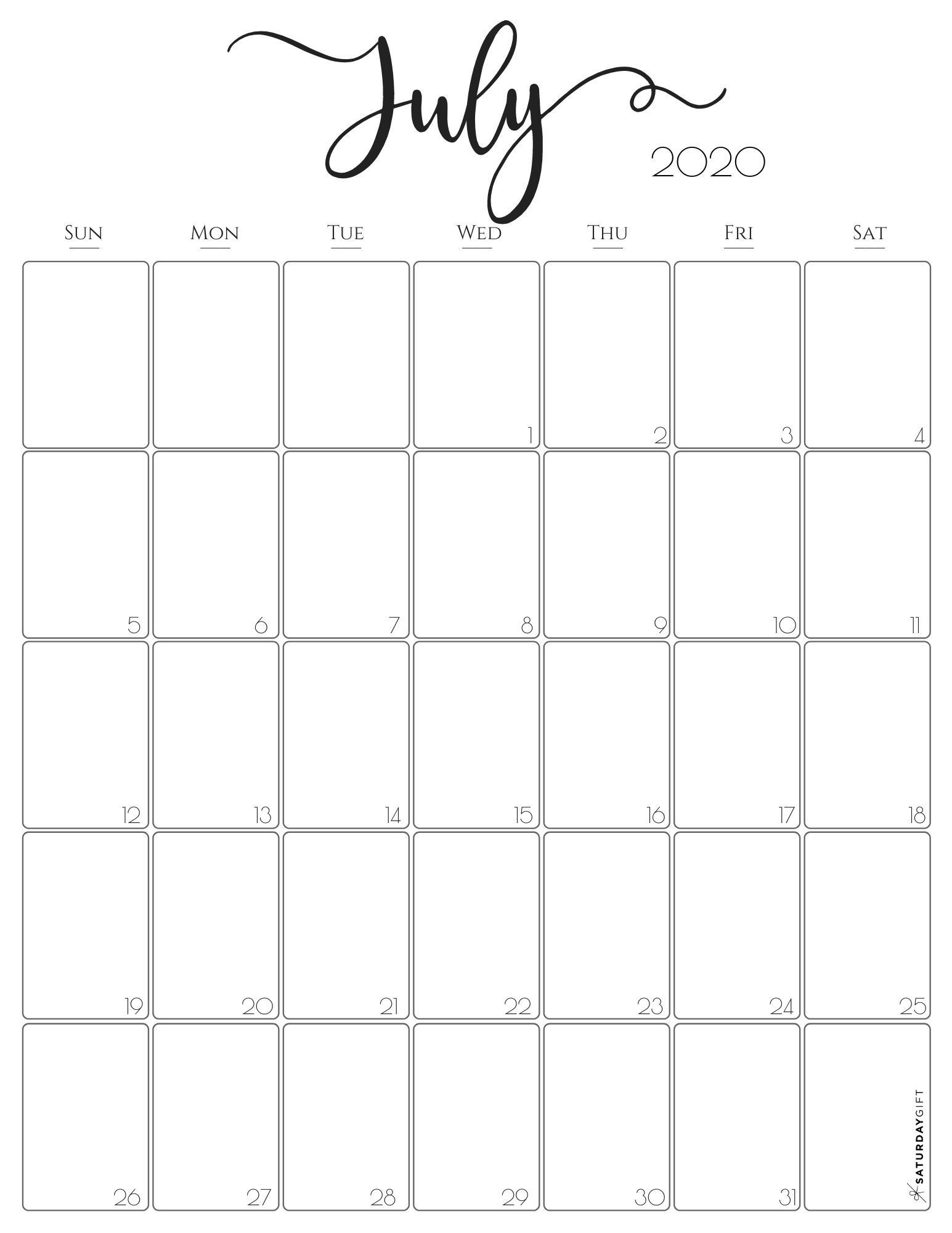 Printable Monthly Calendar Template