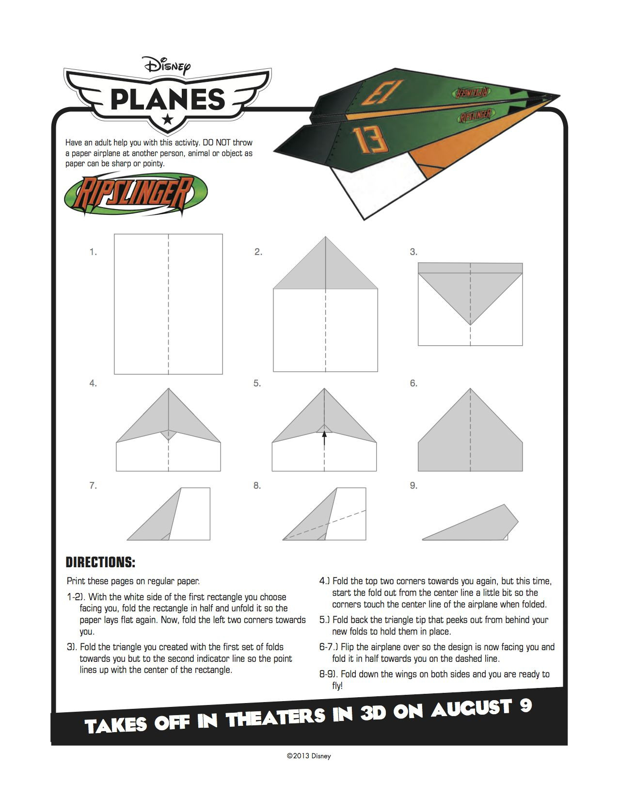 Printable Paper Airplane Template
