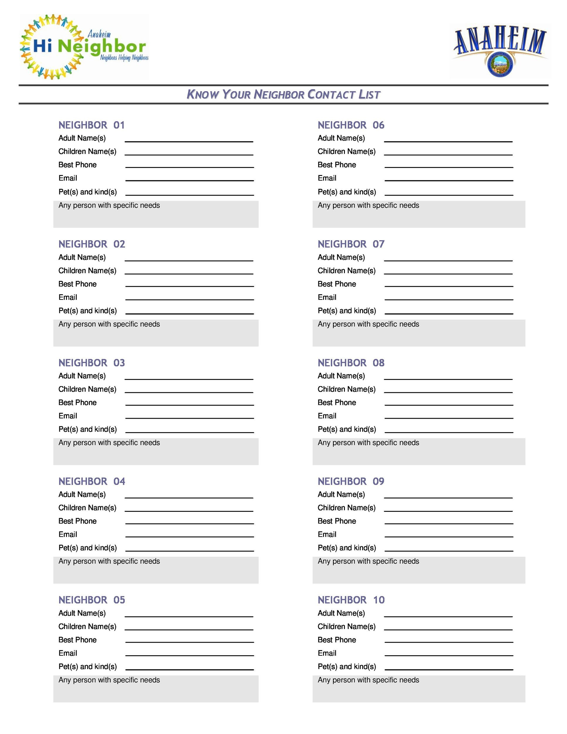 Printable Phone Book Template