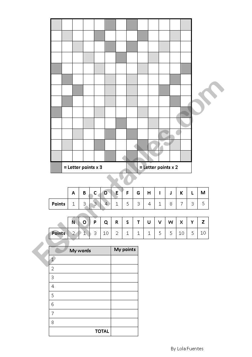Printable Scrabble Board Template