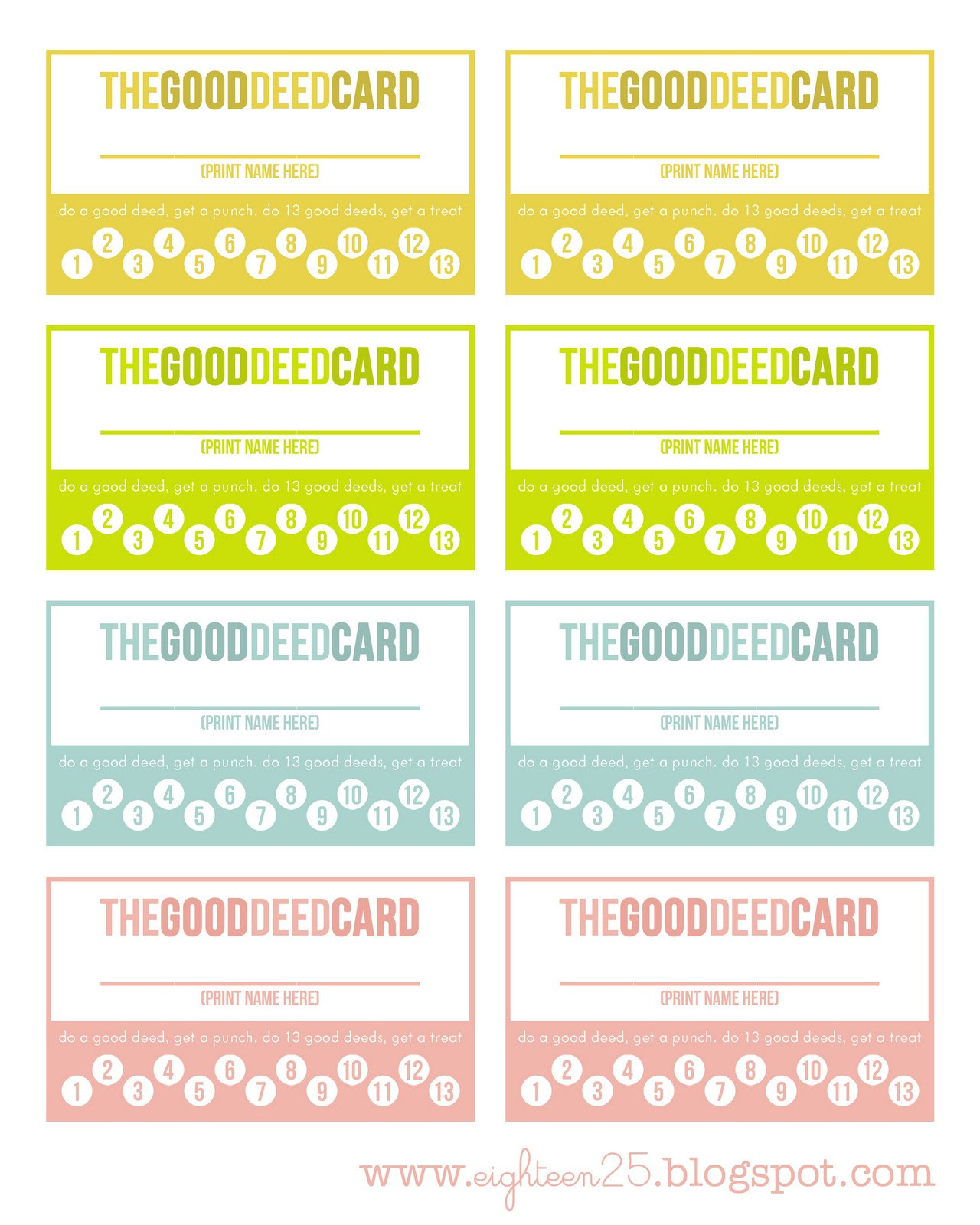 Punch Cards Template Free
