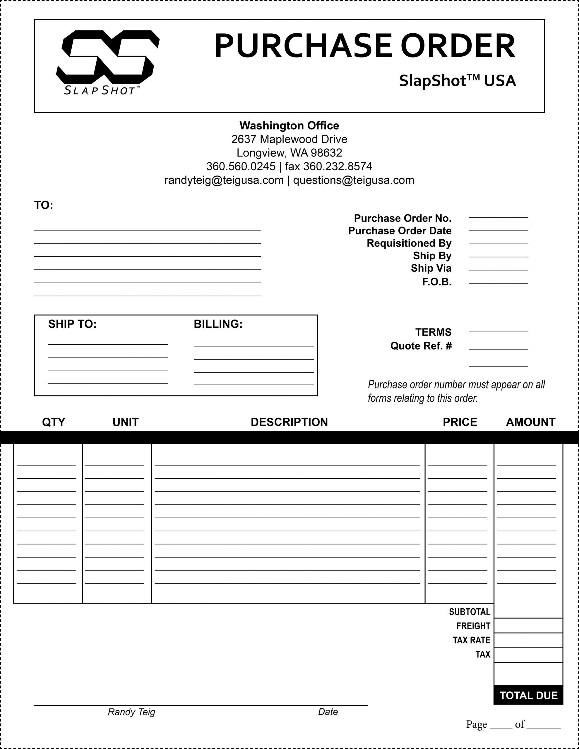 Purchase order Template Pdf