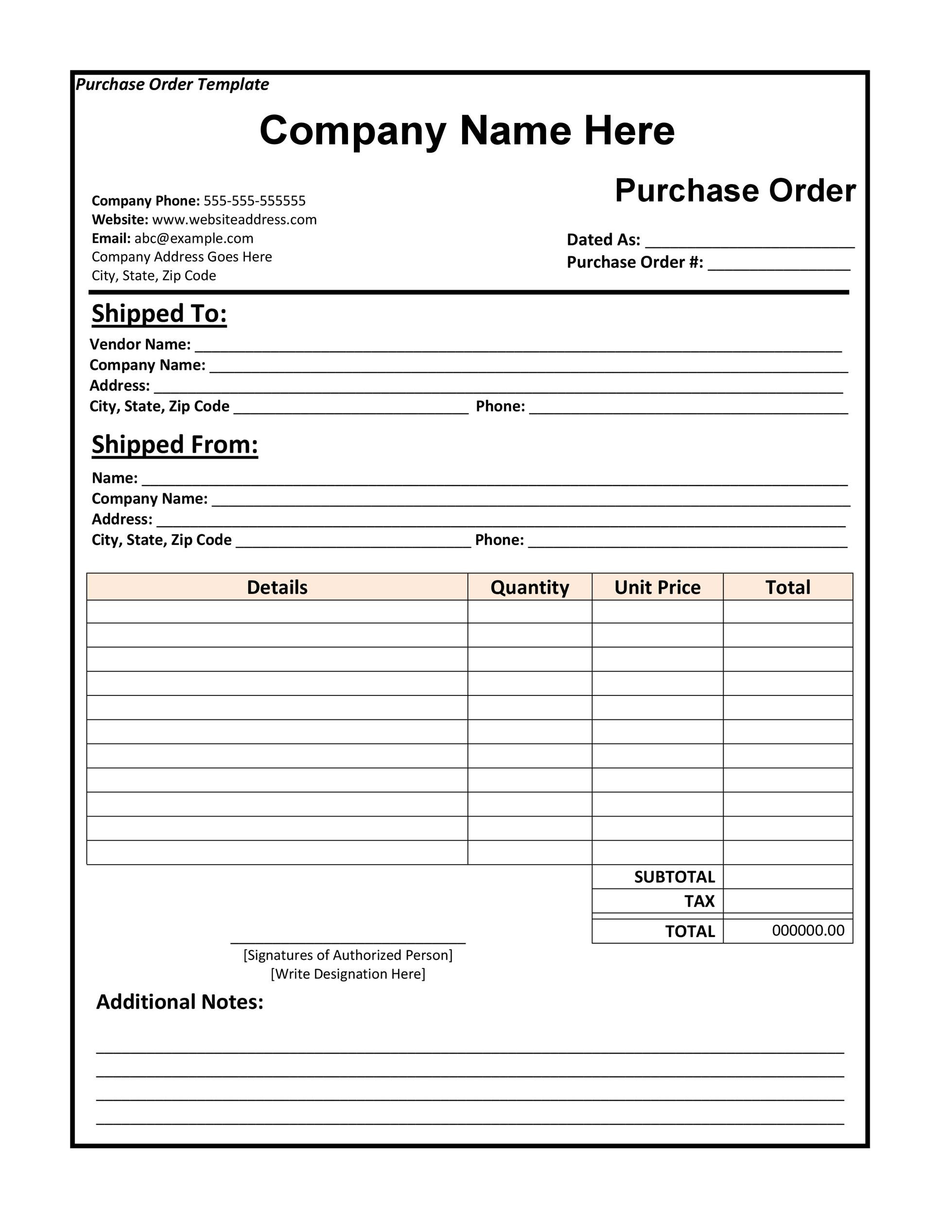 43 Free Purchase Order Templates [in Word Excel PDF]