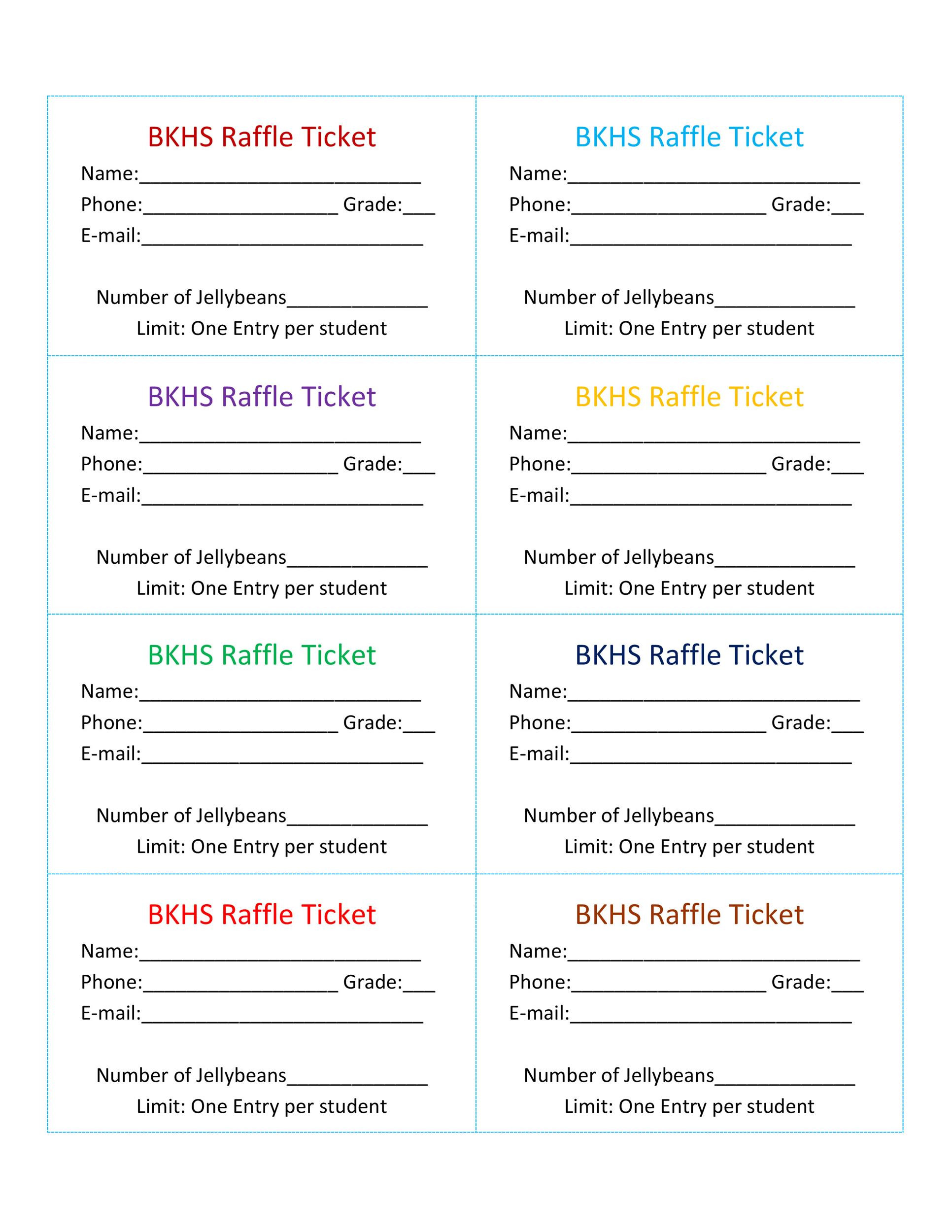 Raffle Entry form Template