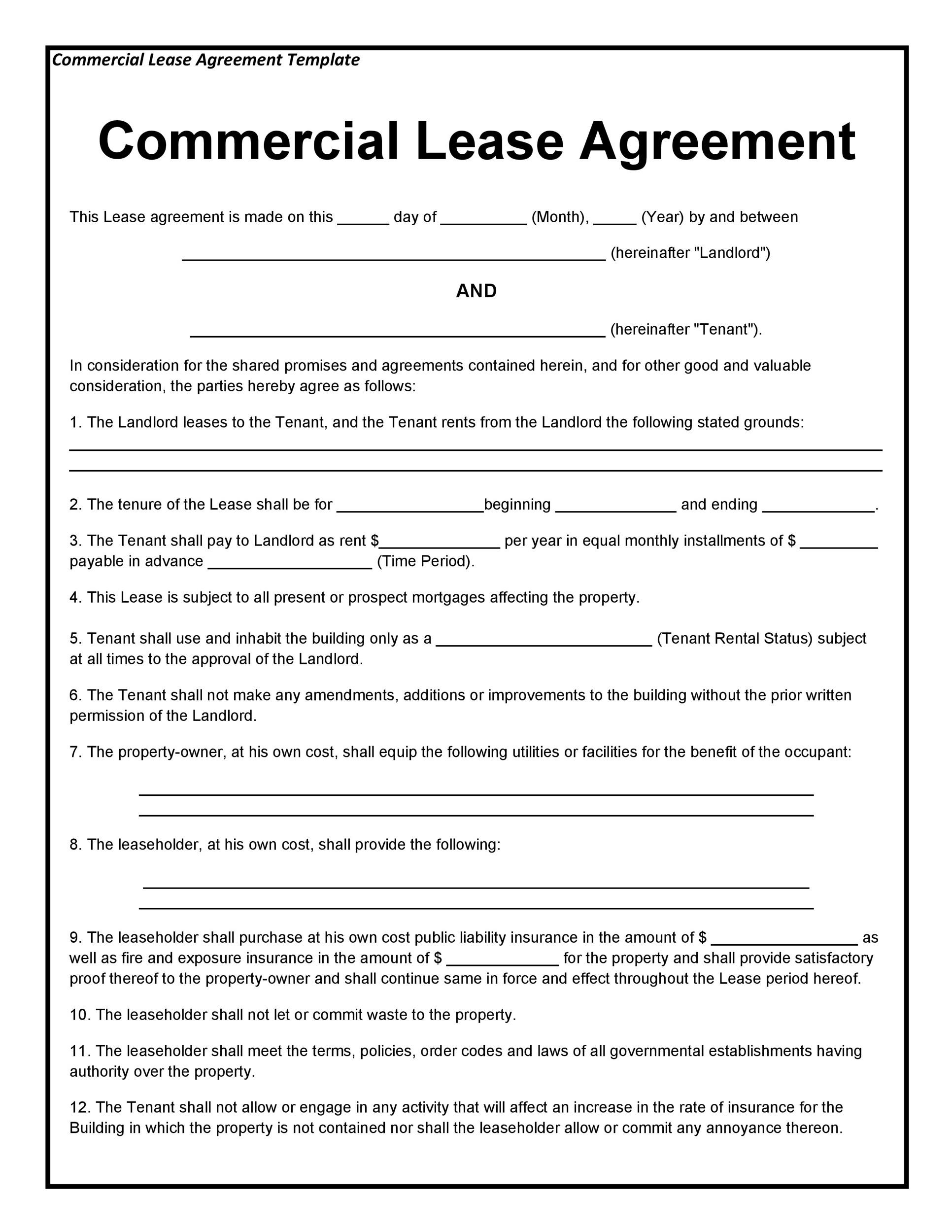 26 Free mercial Lease Agreement Templates TemplateLab