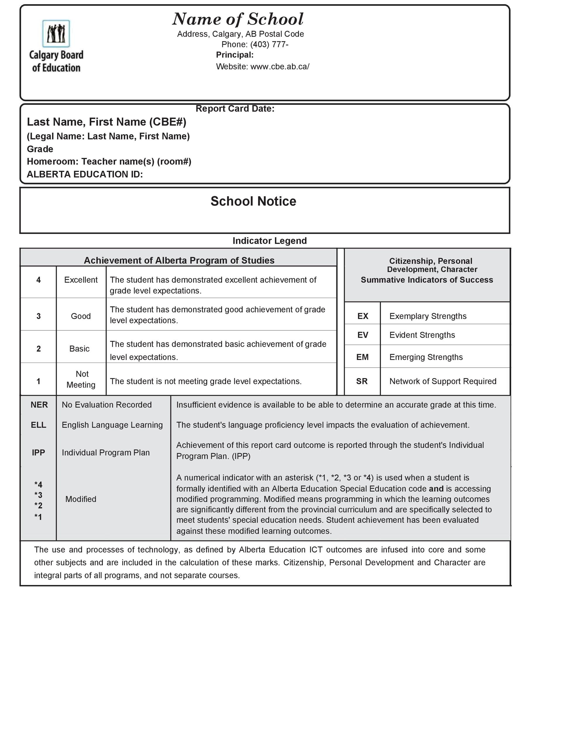 Report Card Template Free