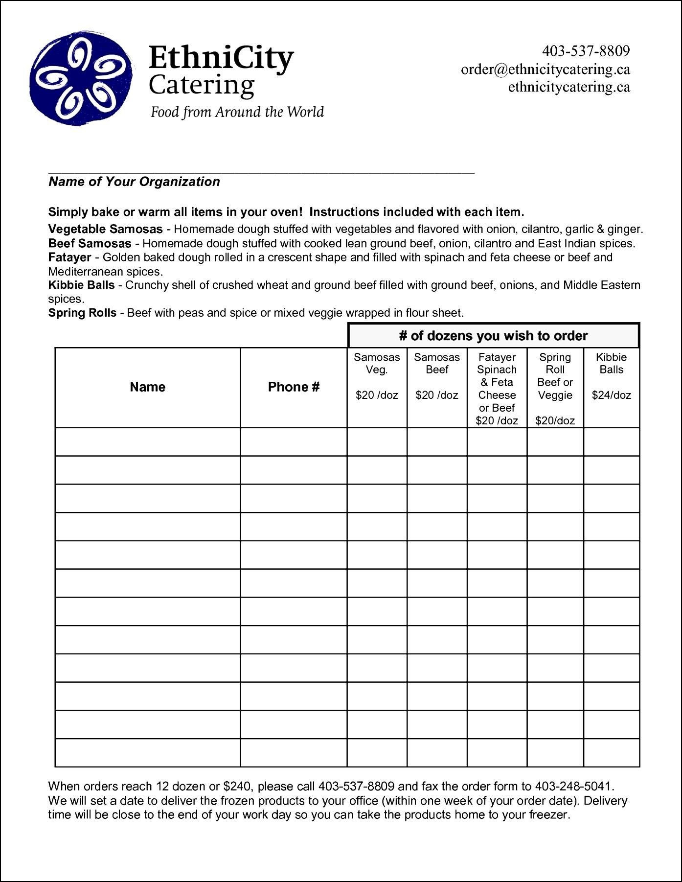Sale order form Template