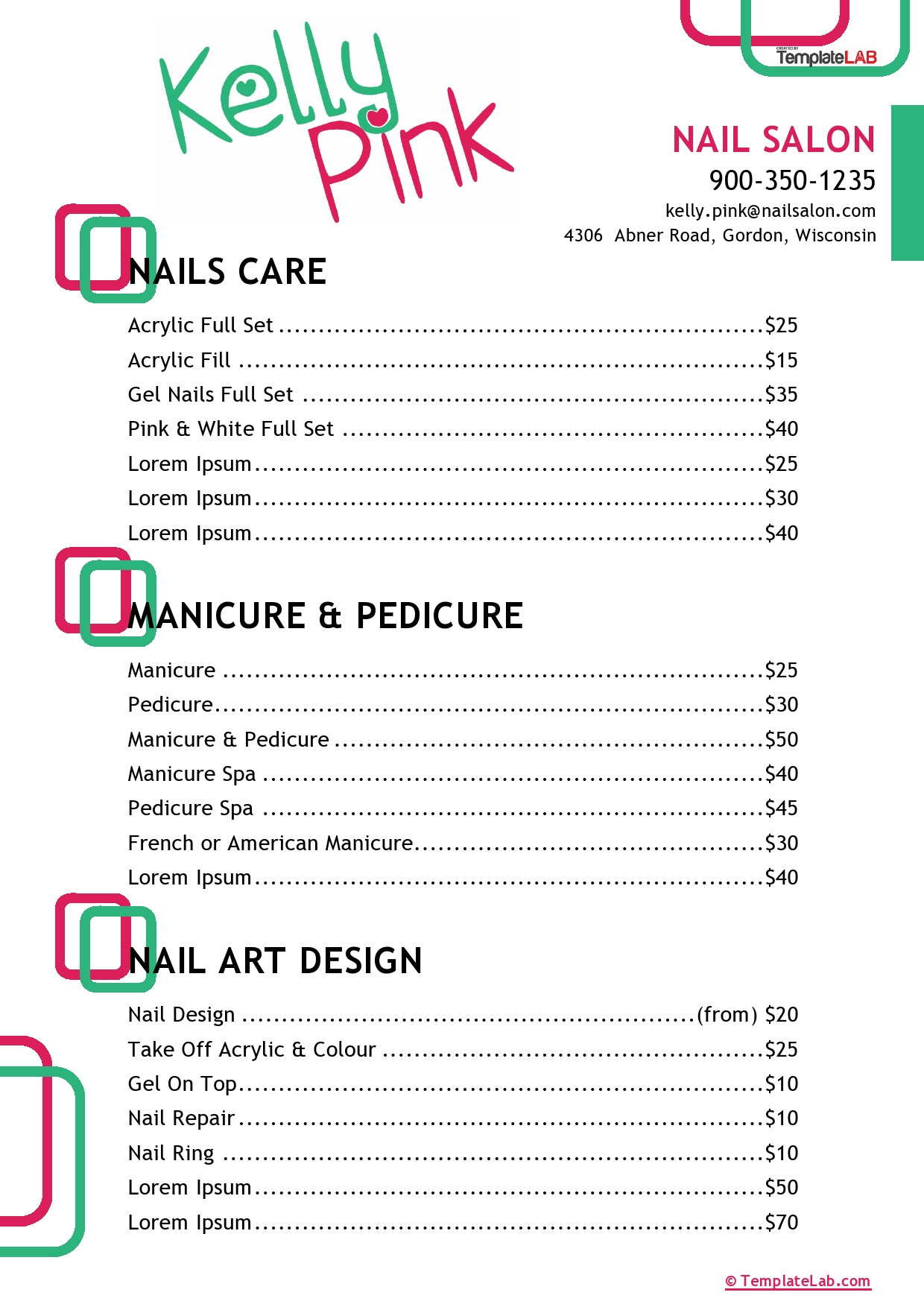 Salon Price List Template