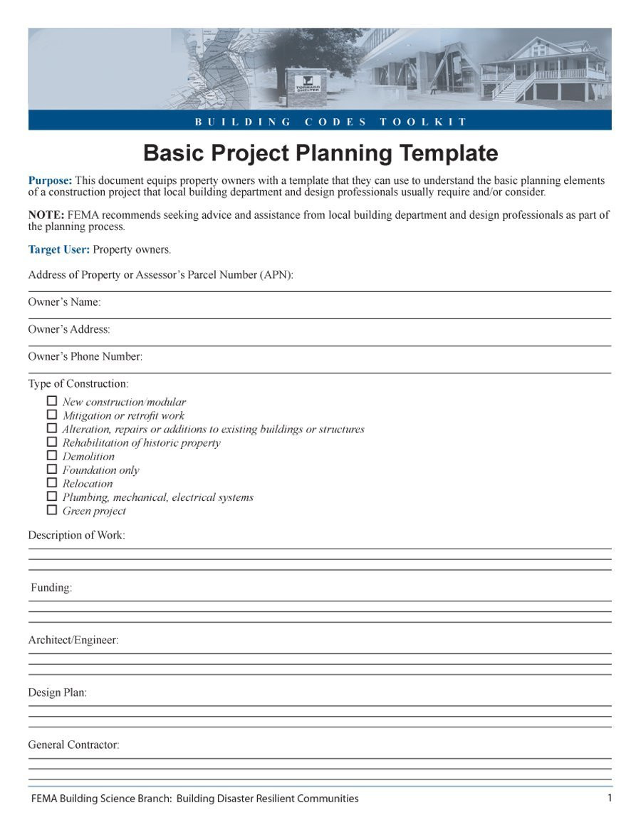point Project Management Template Free Download Nning