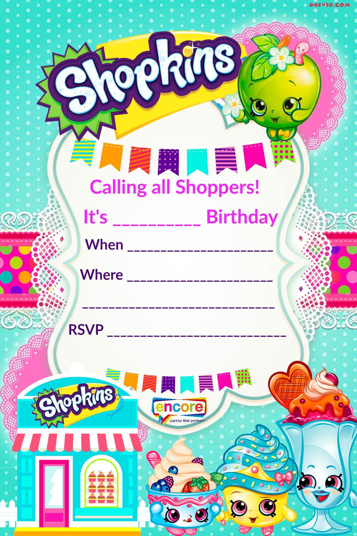 Updated FREE Printable Shopkins Birthday Invitation