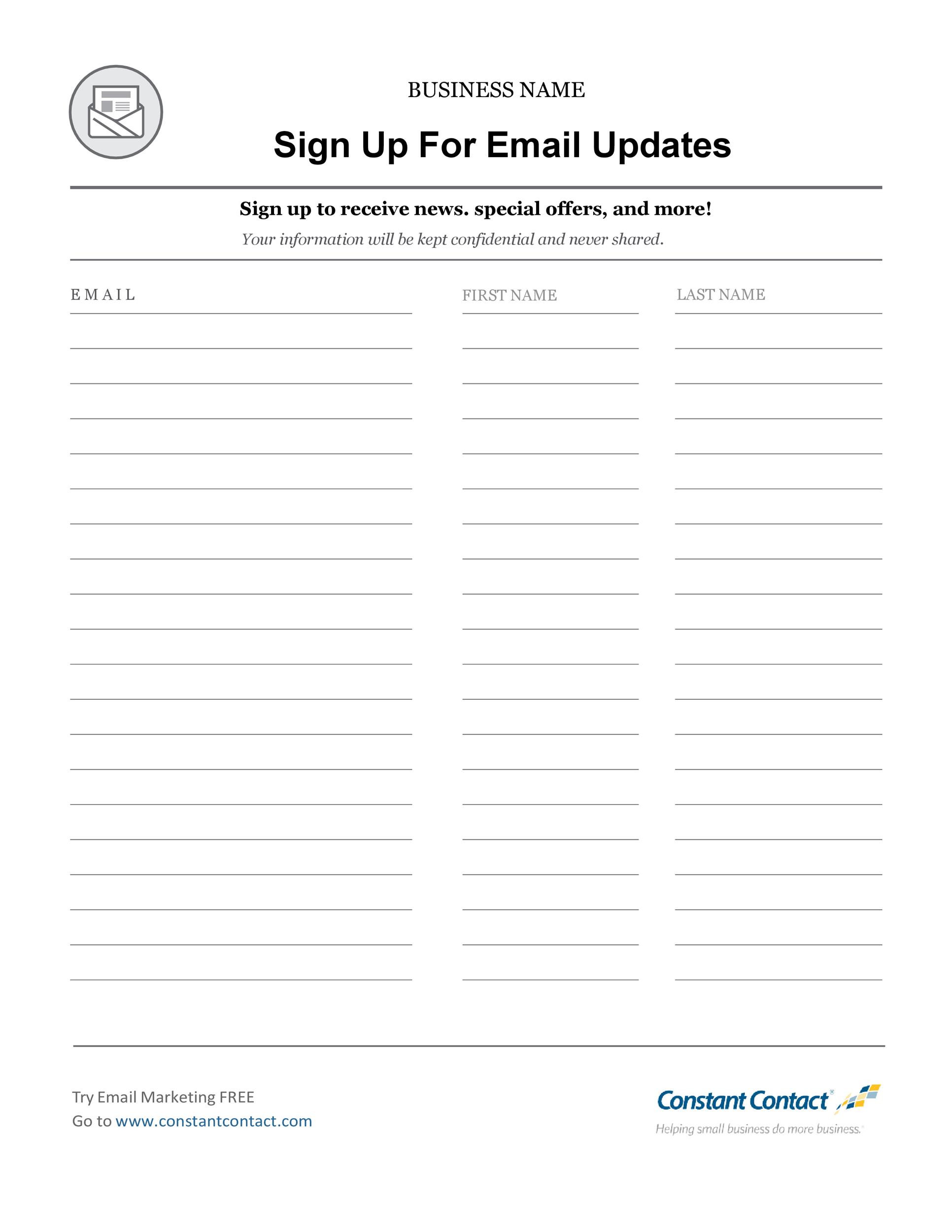 Sign Up List Template