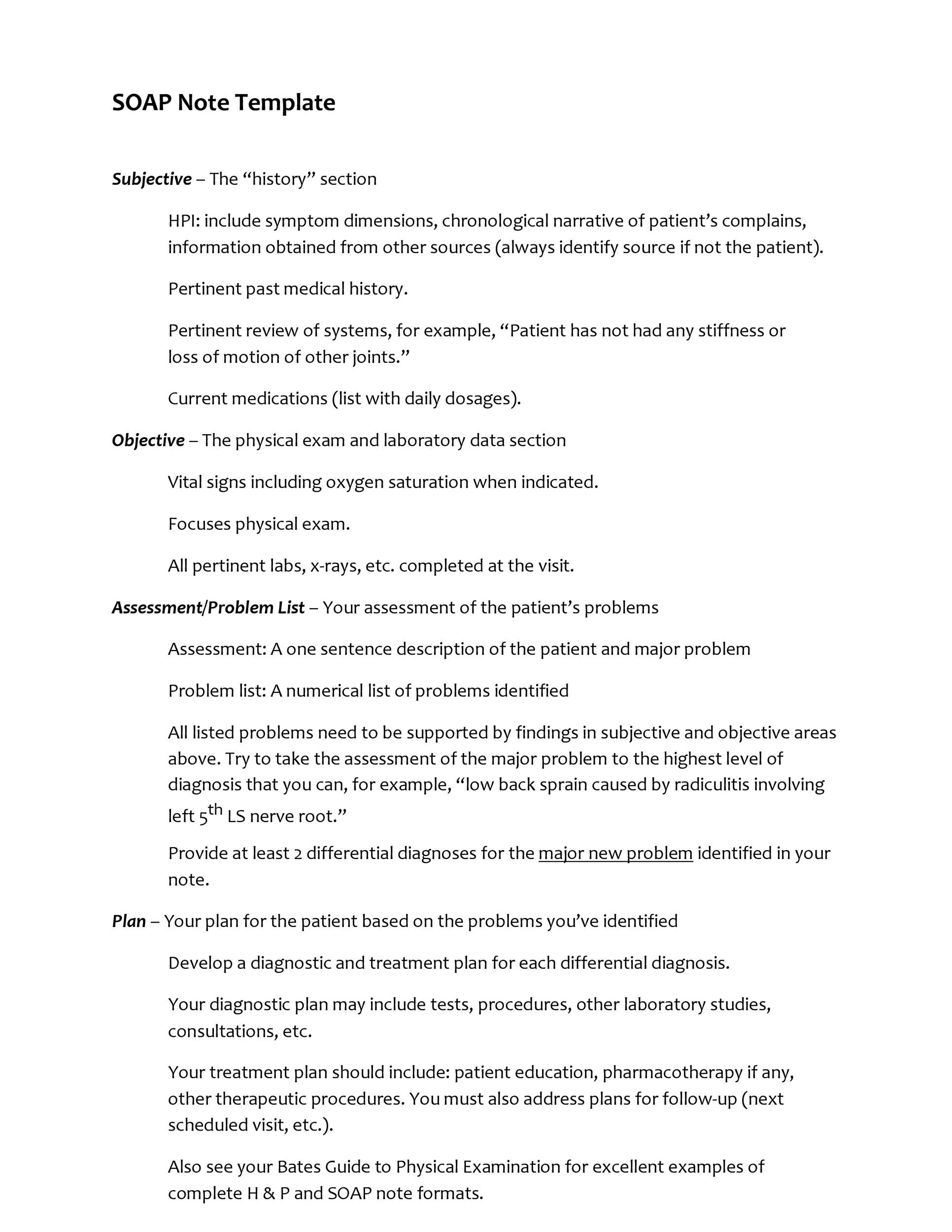 Soap Note Template Word