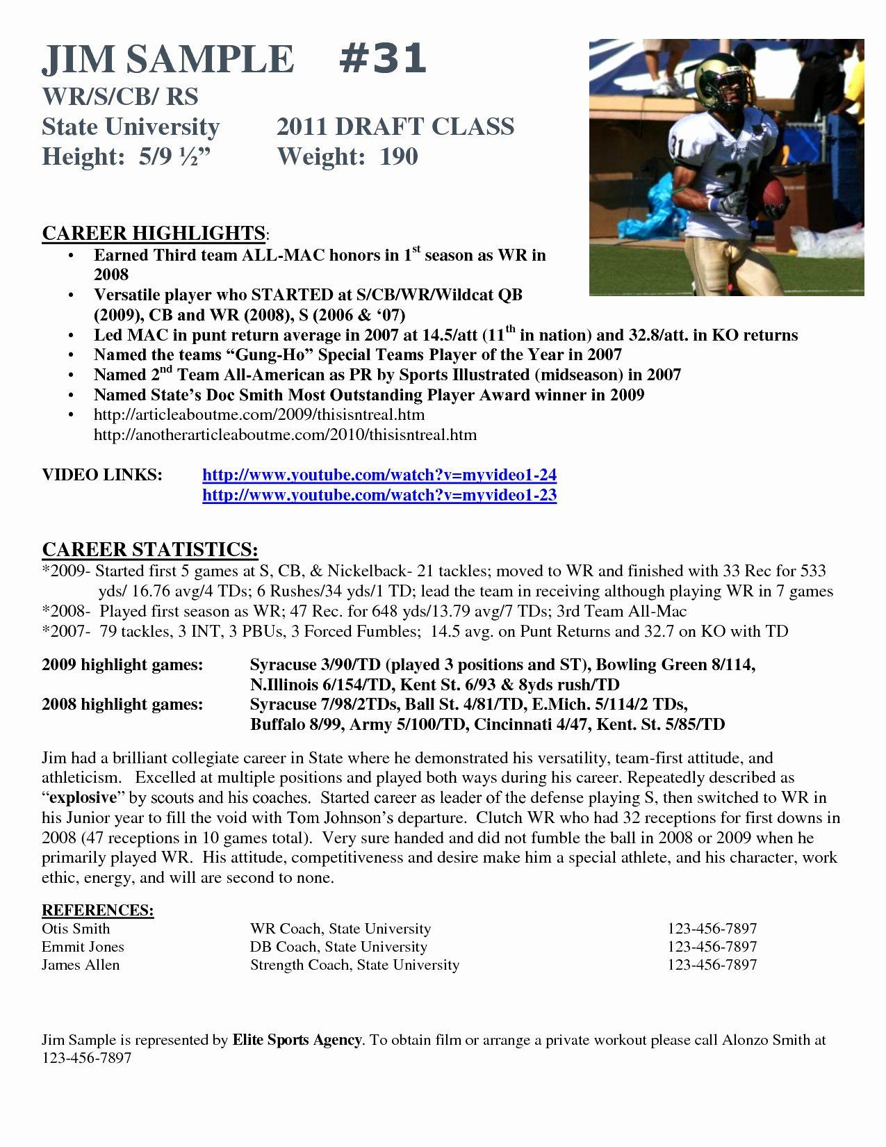 Soccer Player Profile Template