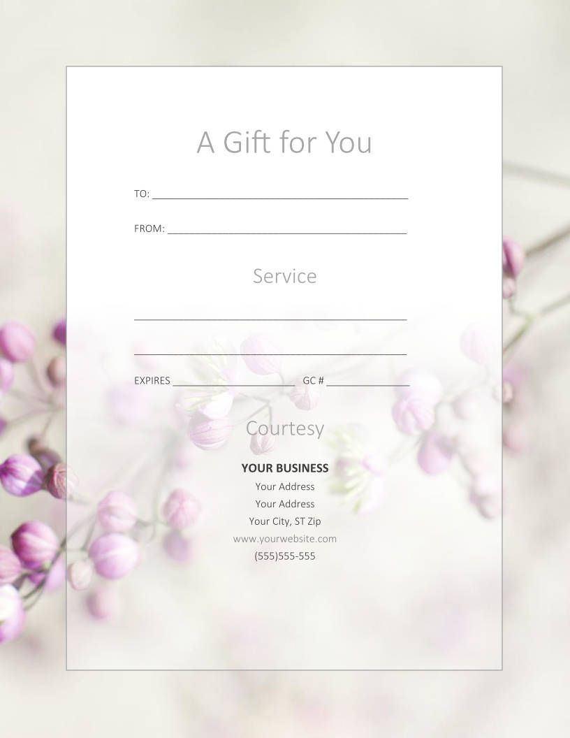 Free Gift Certificate Templates for Massage and Spa