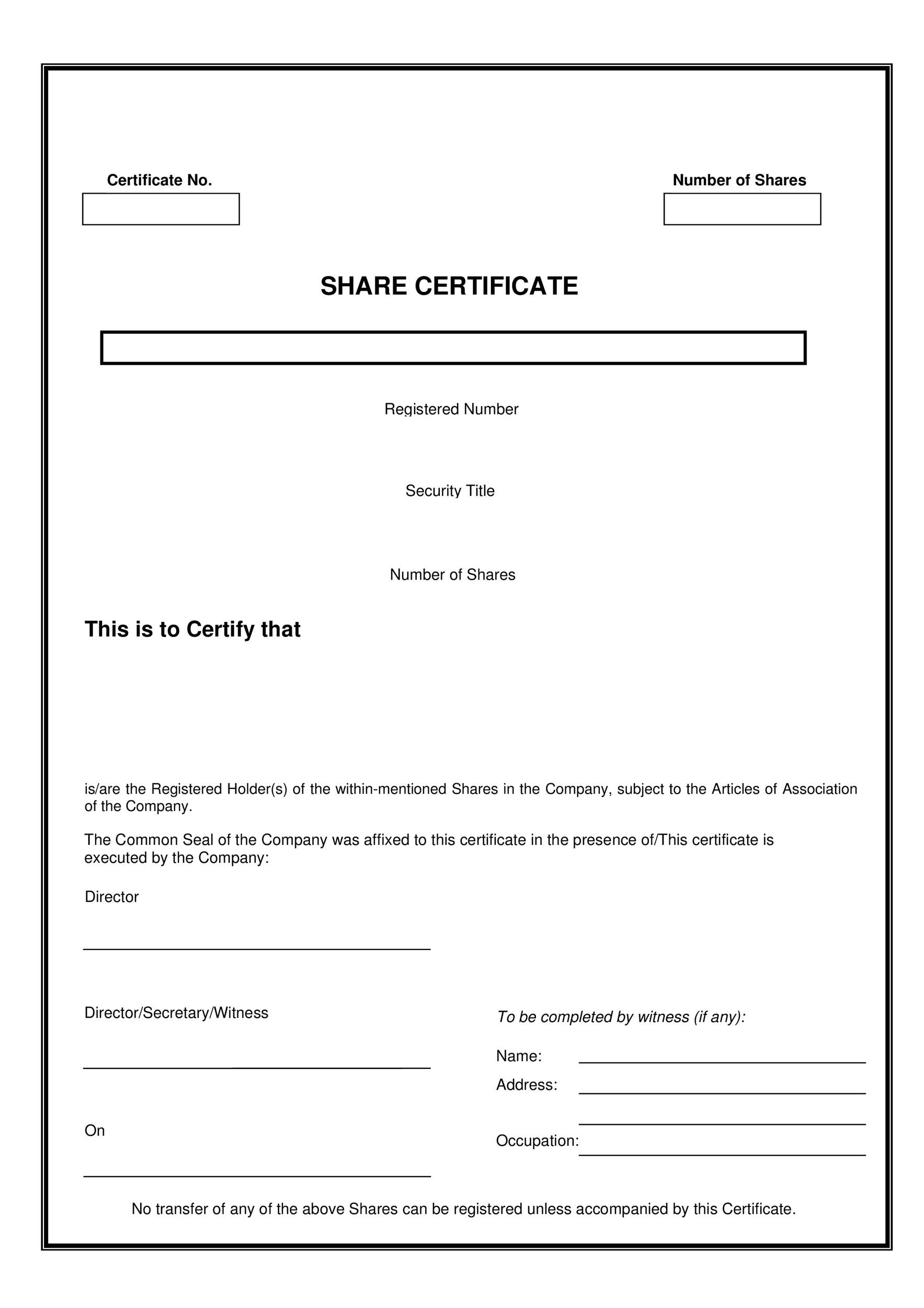 Stock Certificate Template Word