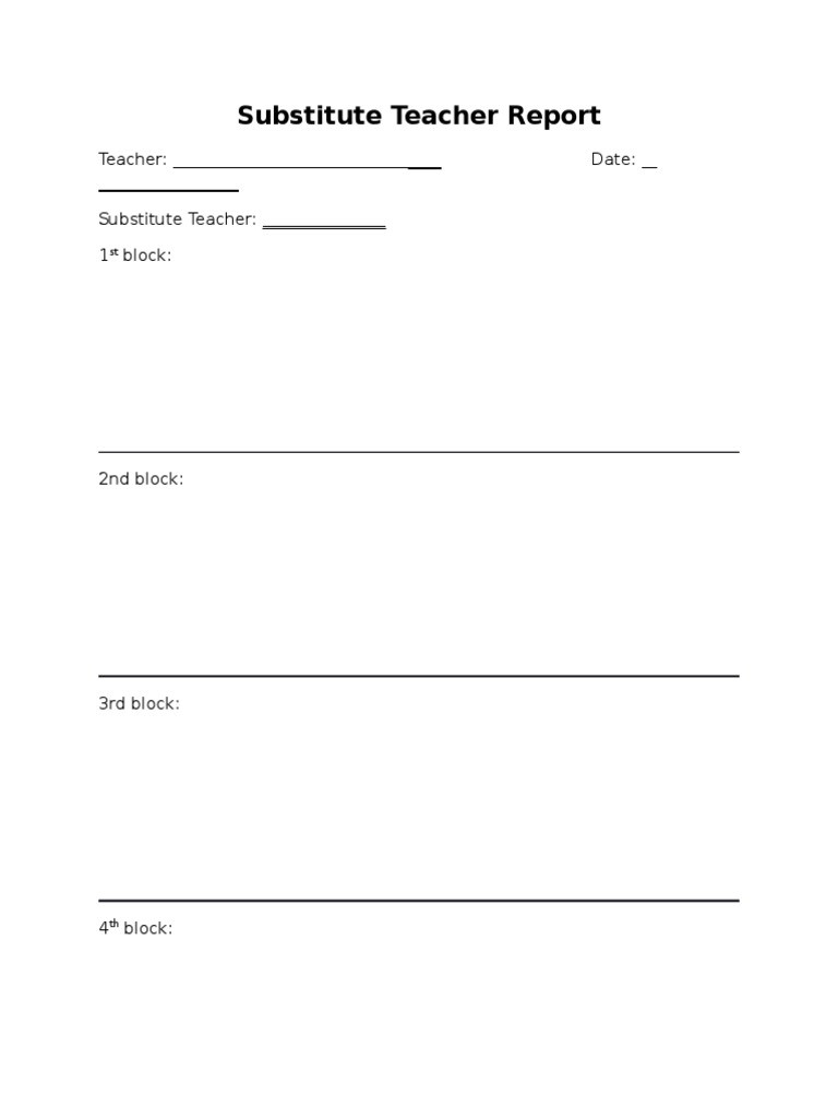 Substitute Teacher Report Template