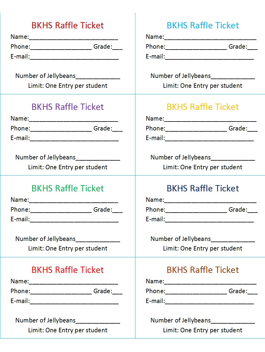 Template for Raffle Tickets