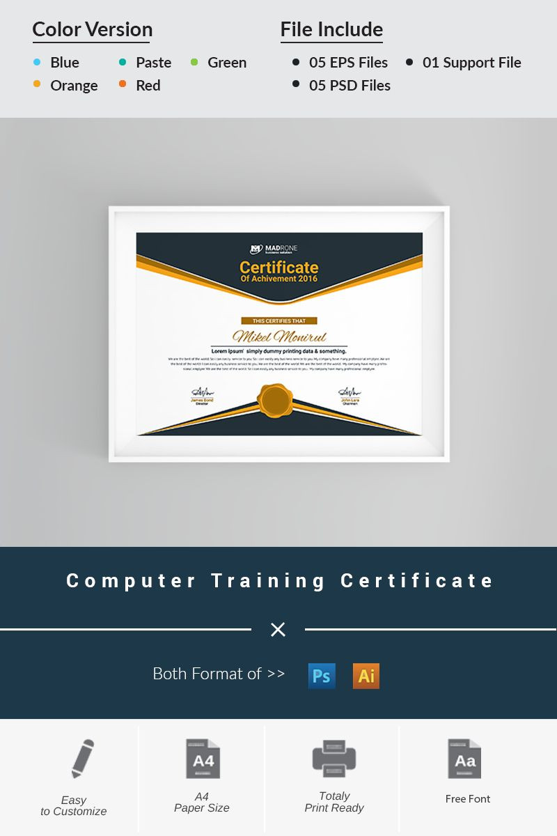 Training Certificate Template Word