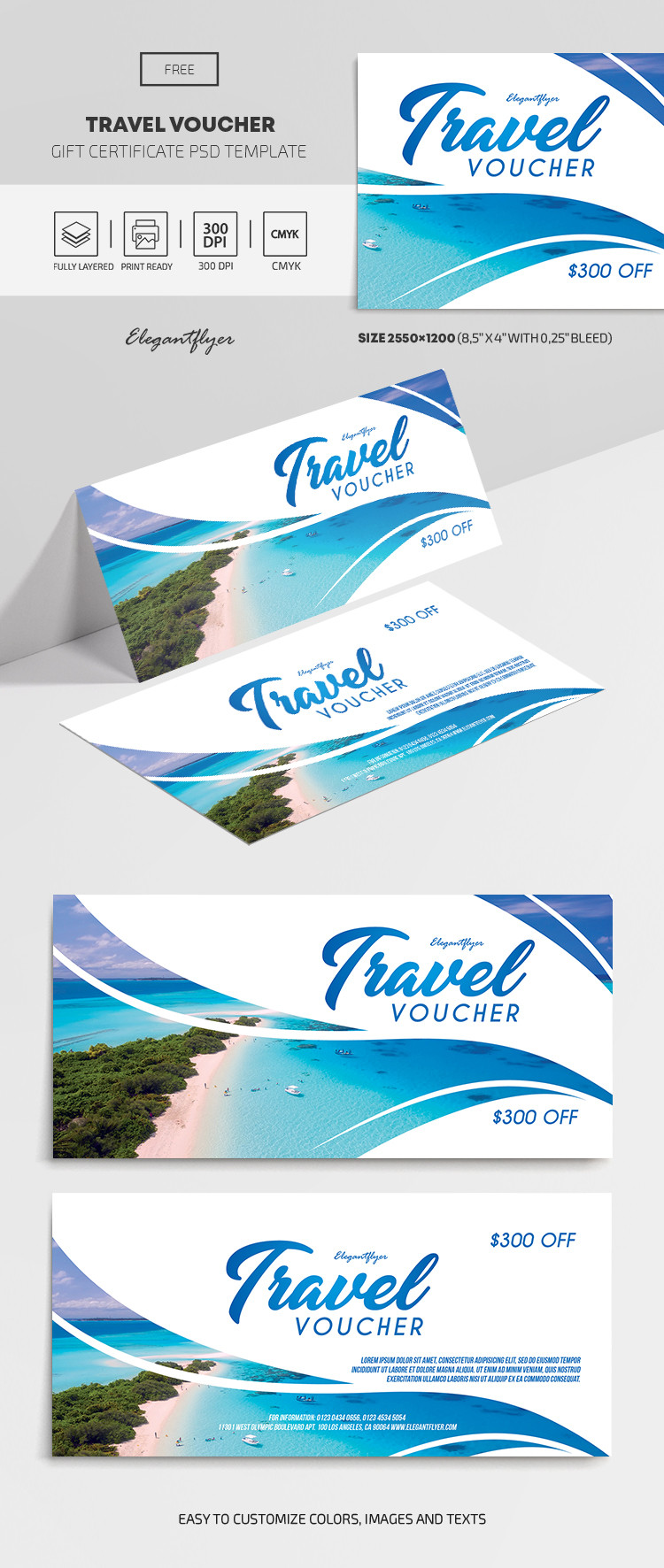 Travel Voucher – Free Gift Certificate Template – by