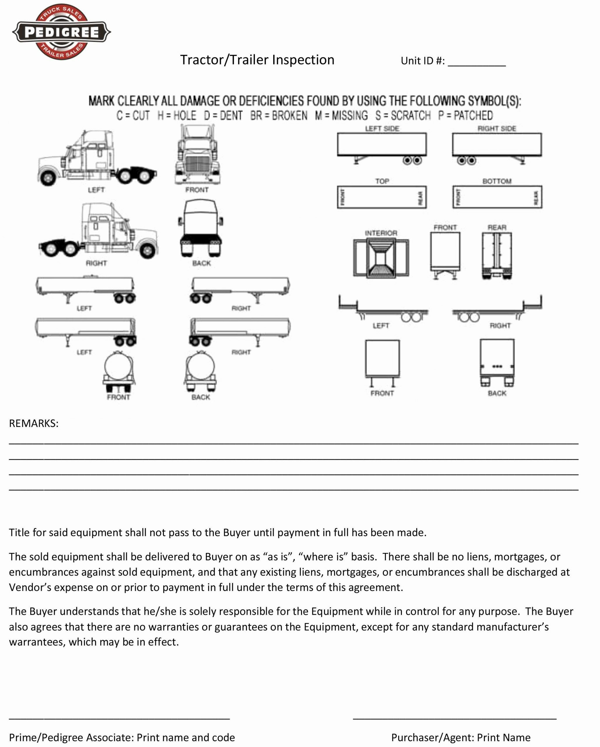 Truck Inspection form Template