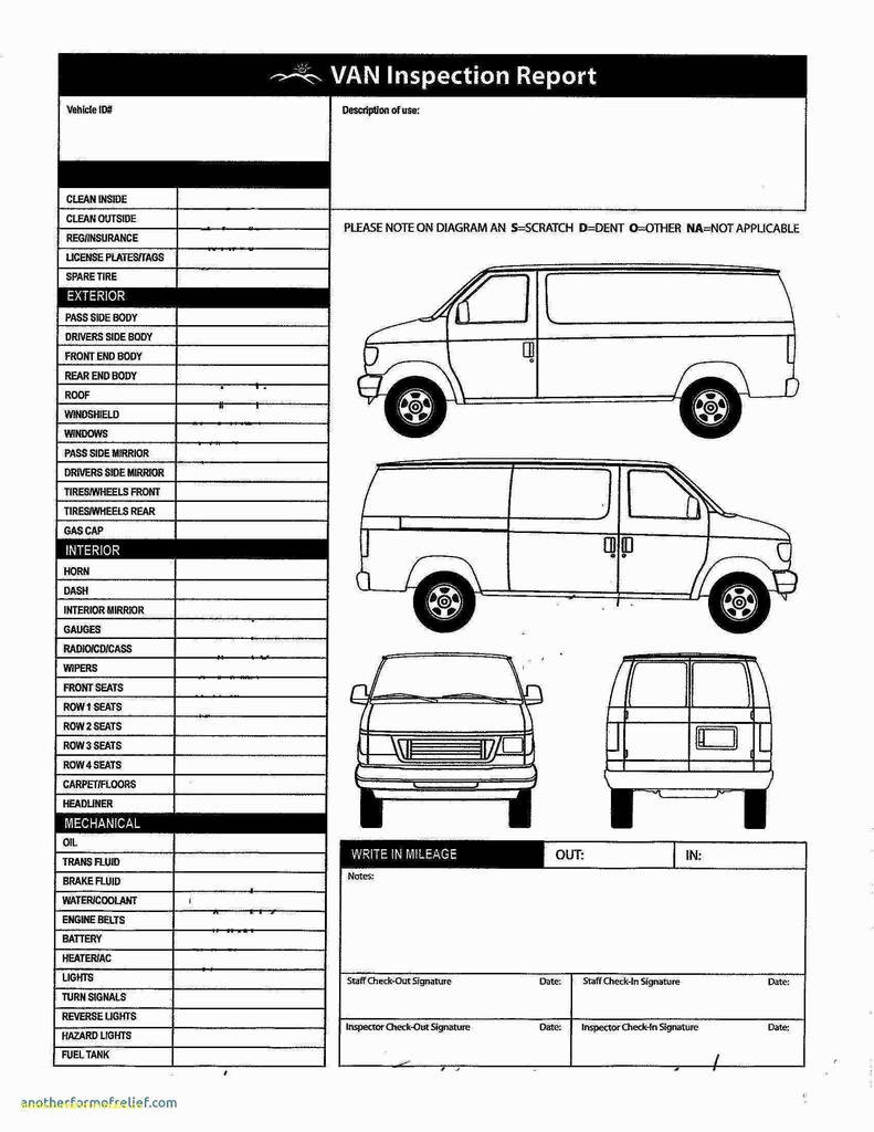 Vehicle Inspection Sheet Template