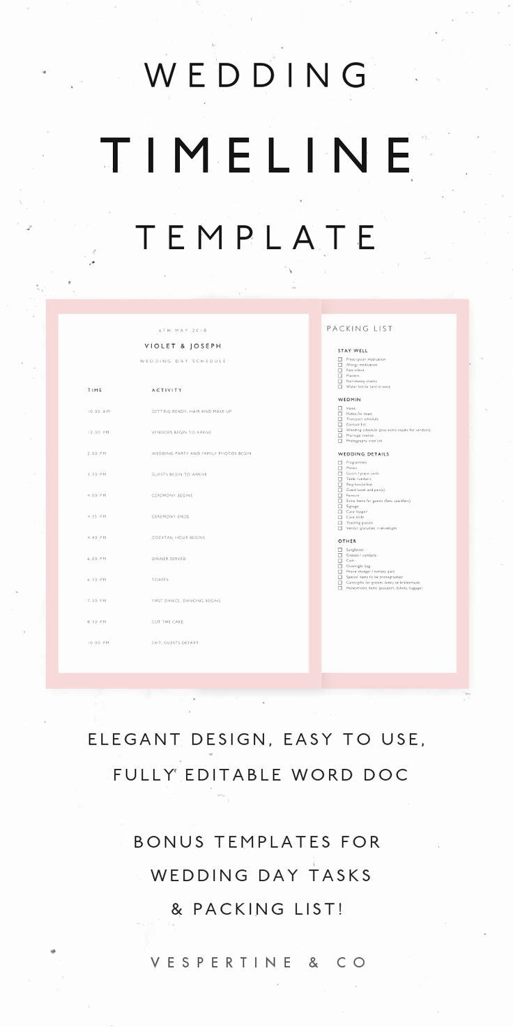 Wedding Day Itinerary Template