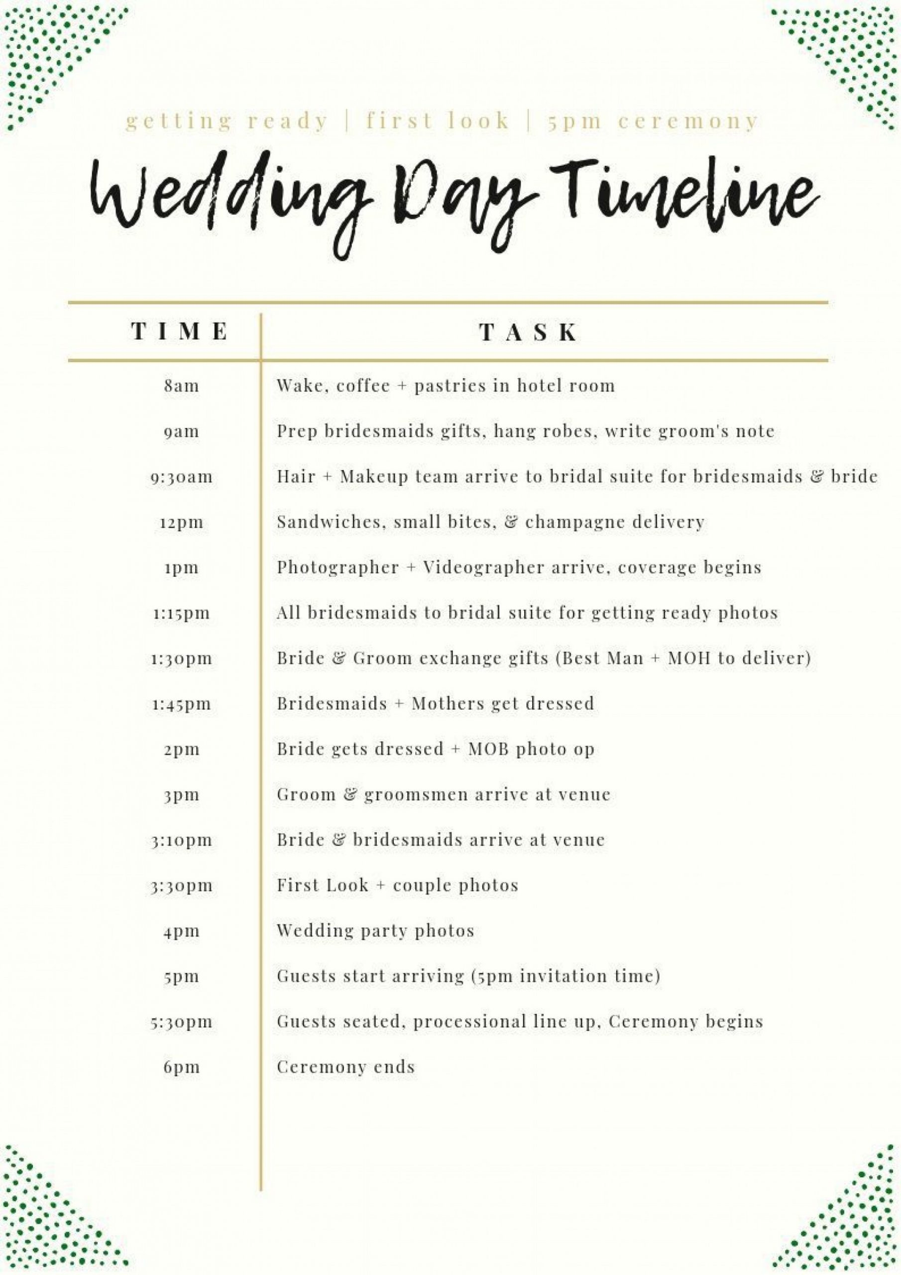 Wedding Day Itinerary Template Addictionary
