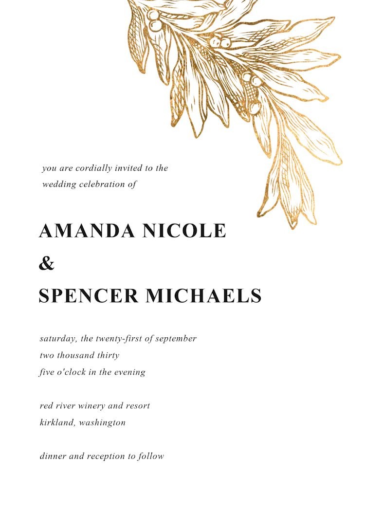 Wedding Information Card Template