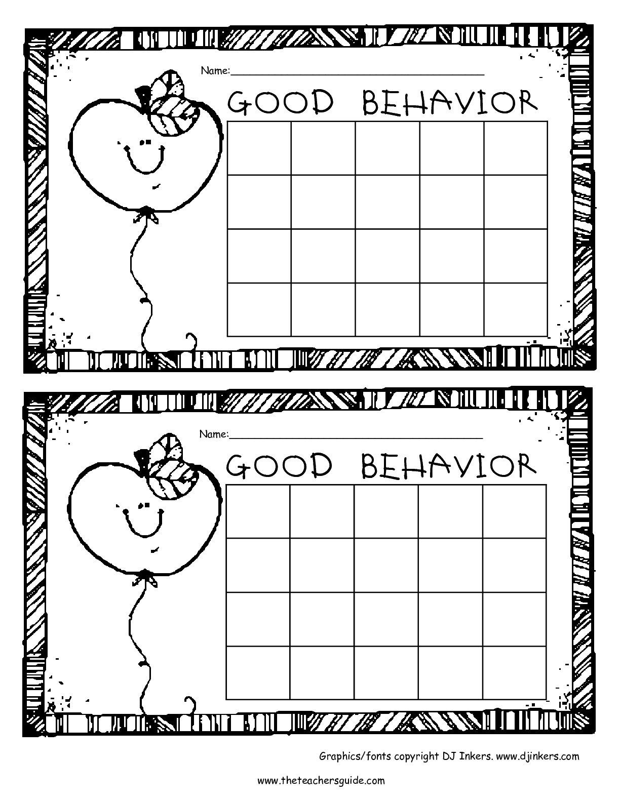 Weekly Behavior Chart Template