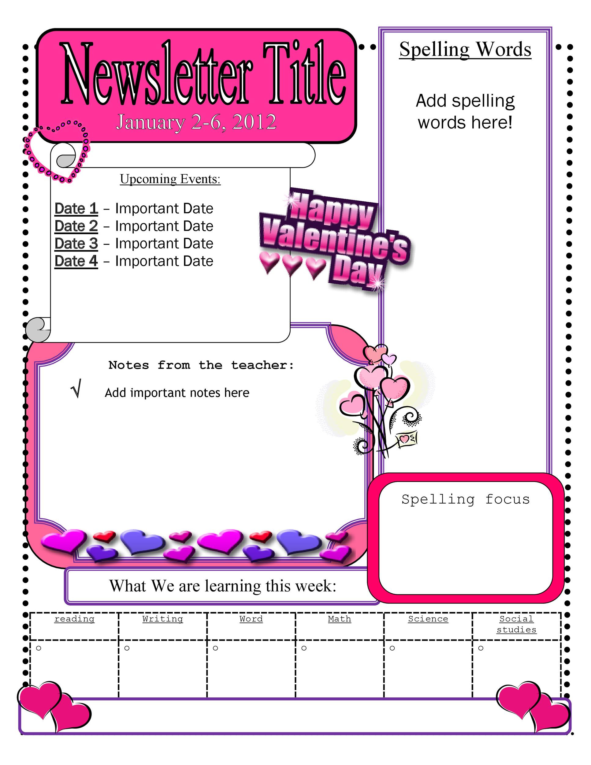 Weekly Classroom Newsletter Template