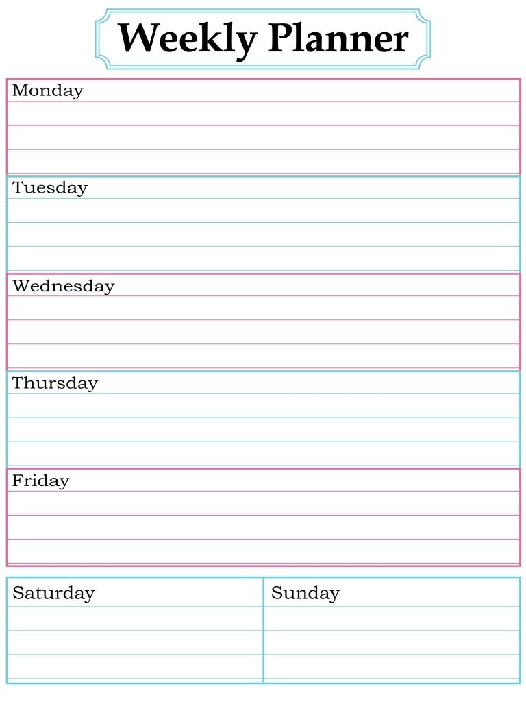 1000 About Printable Weekly Calendars Pinterest