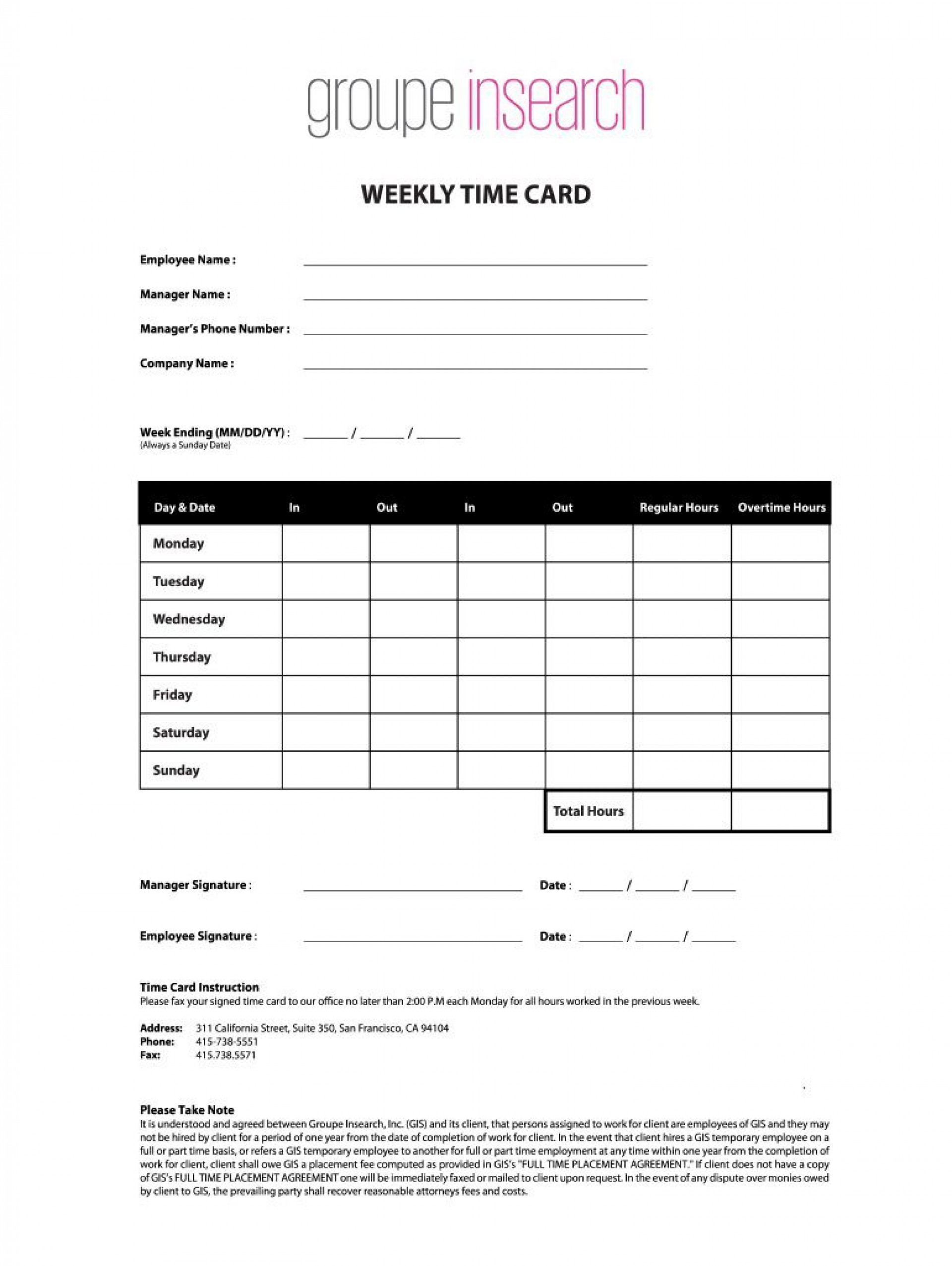 Weekly Time Card Template
