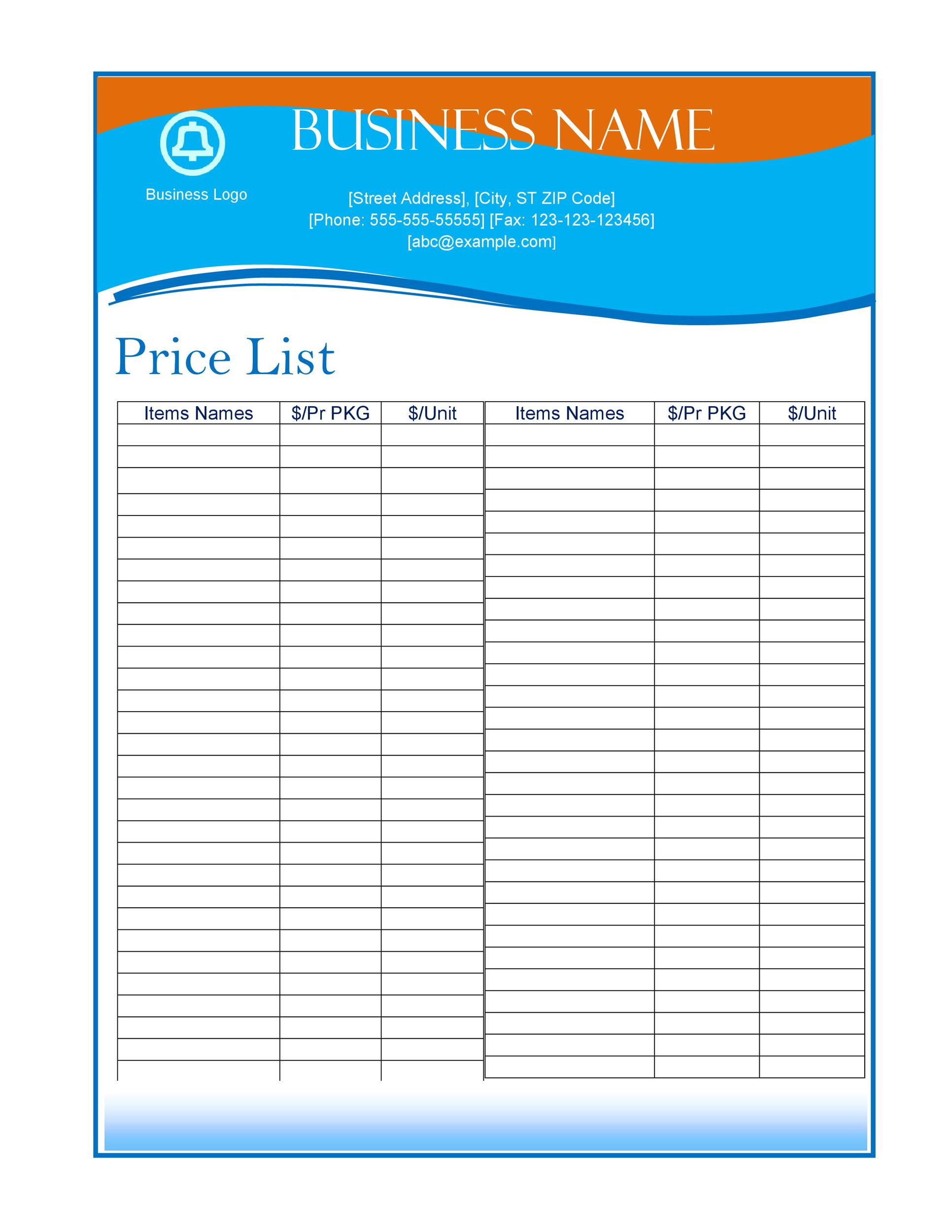 Wholesale Price List Template