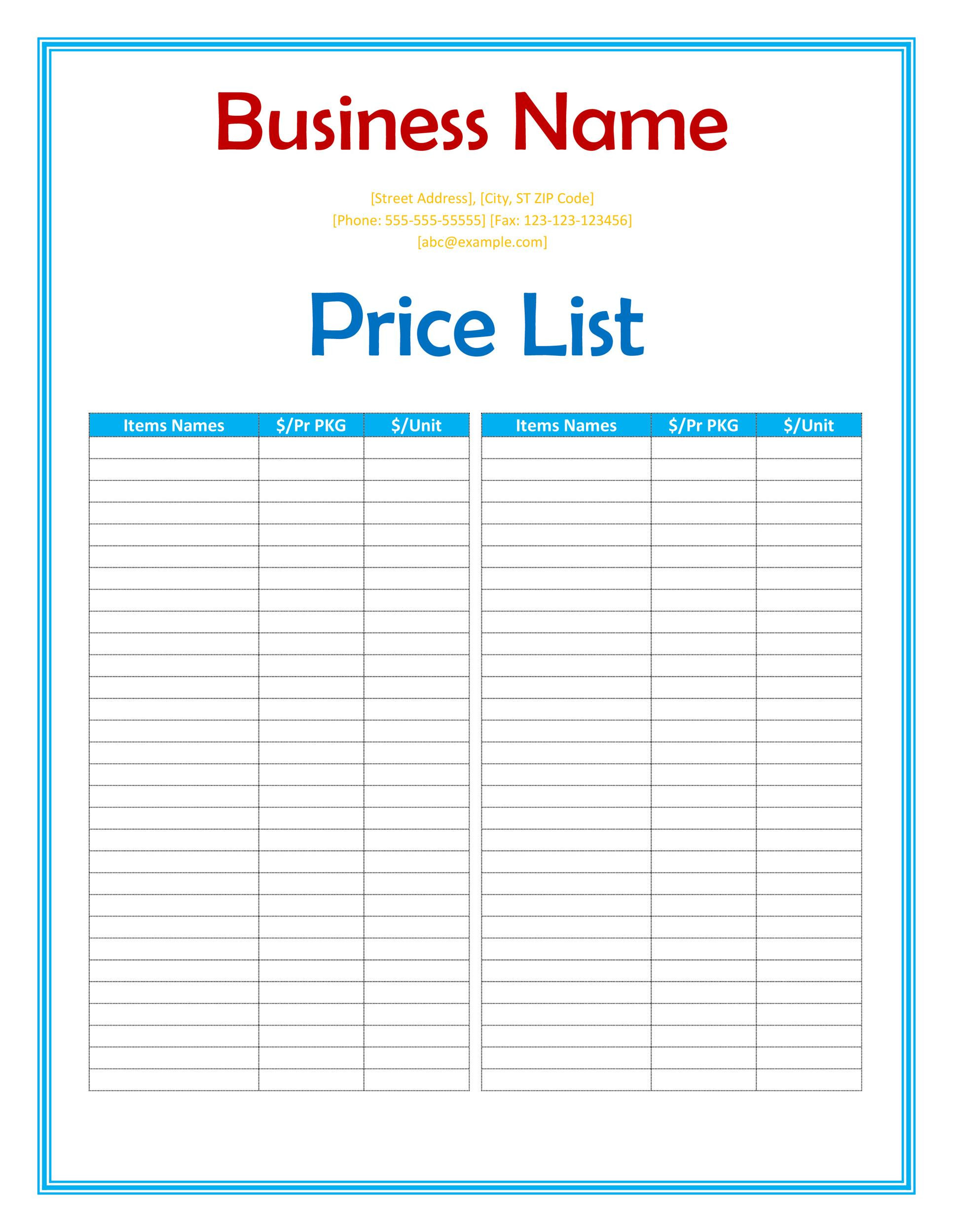 49 FREE Price List Templates Price Sheet Templates