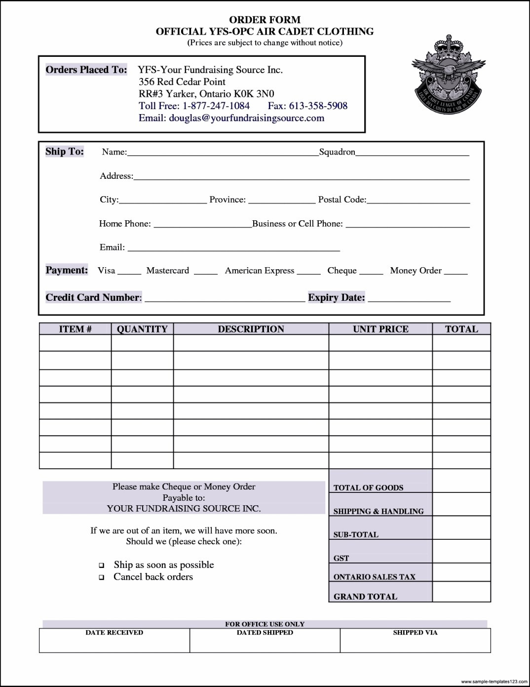 Work order form Template