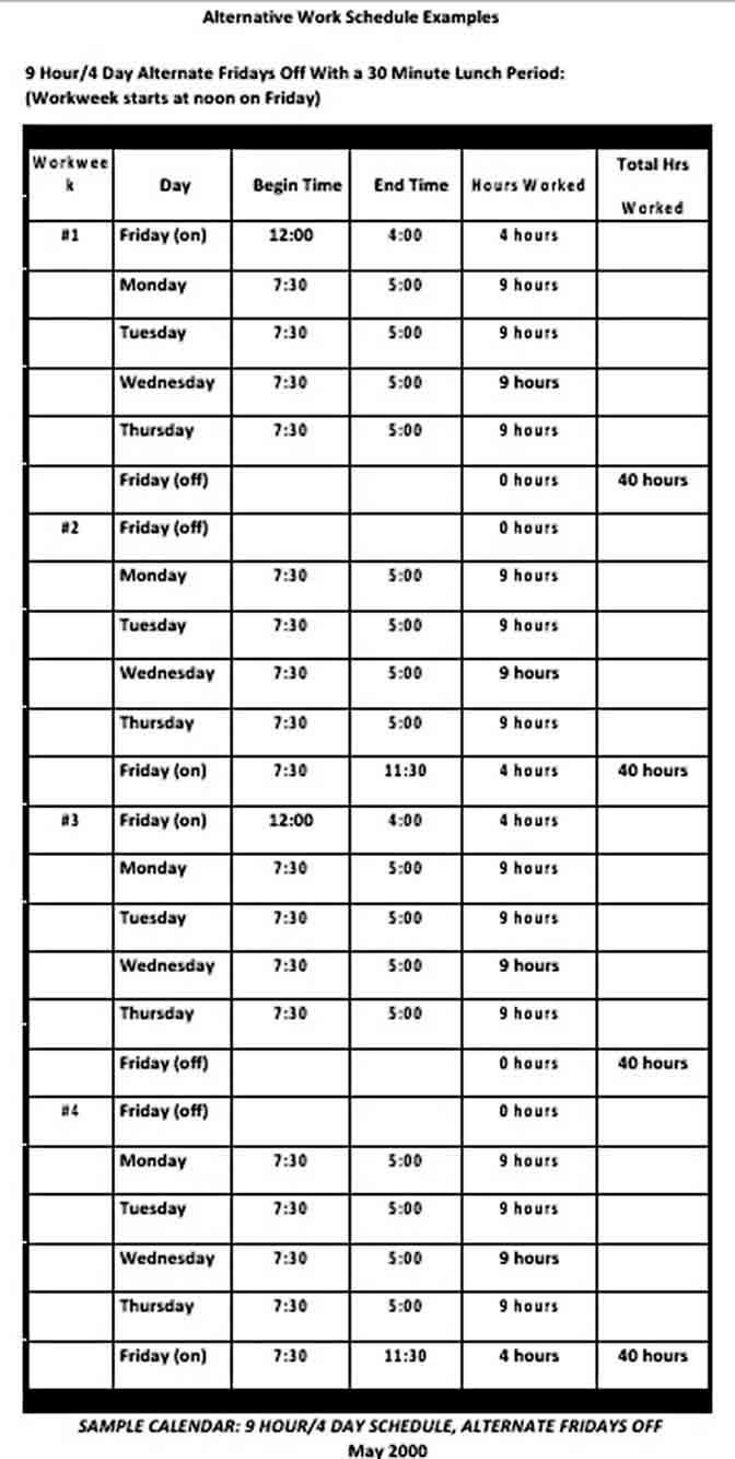 Work Out Schedule Template