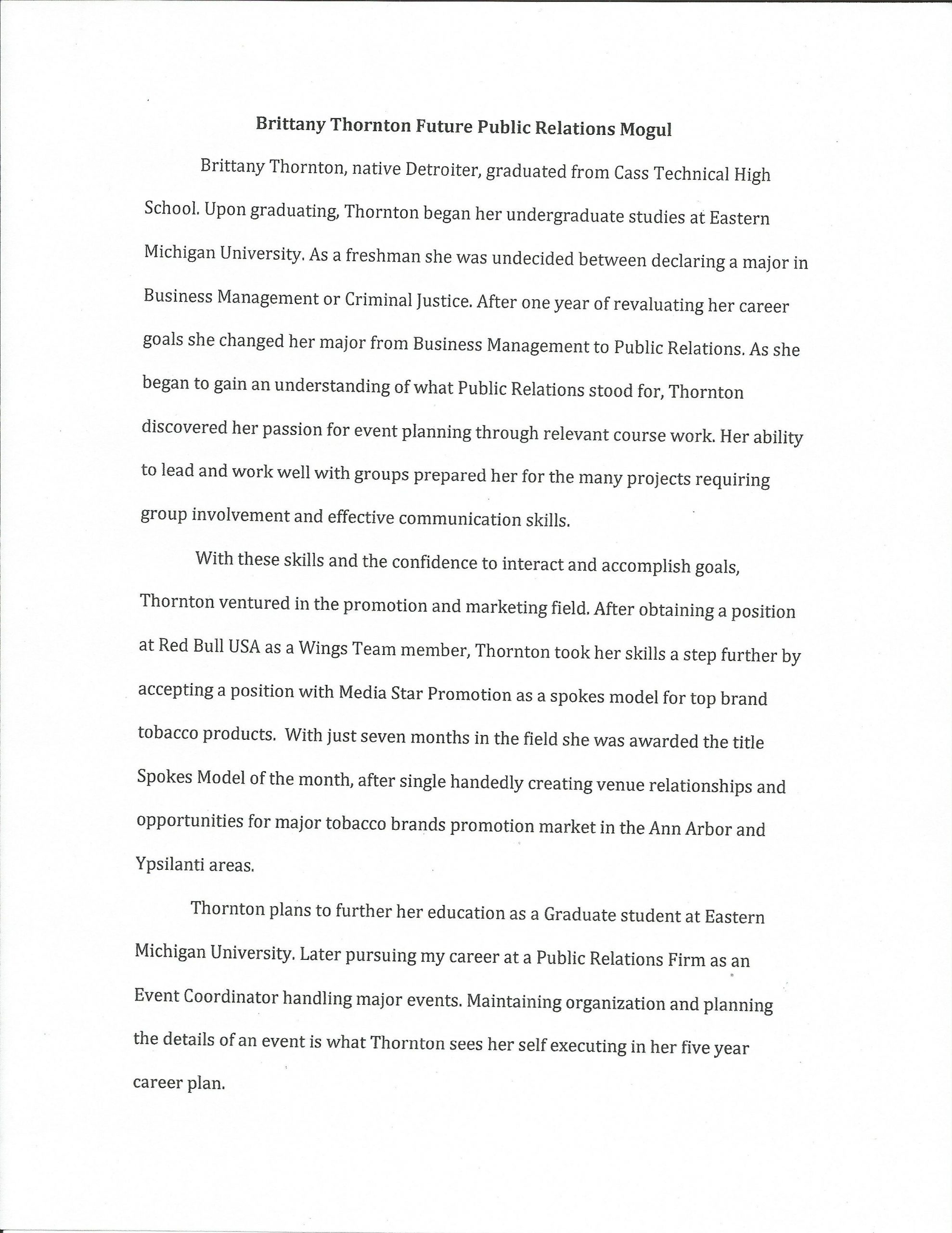 Writing A Biography Template
