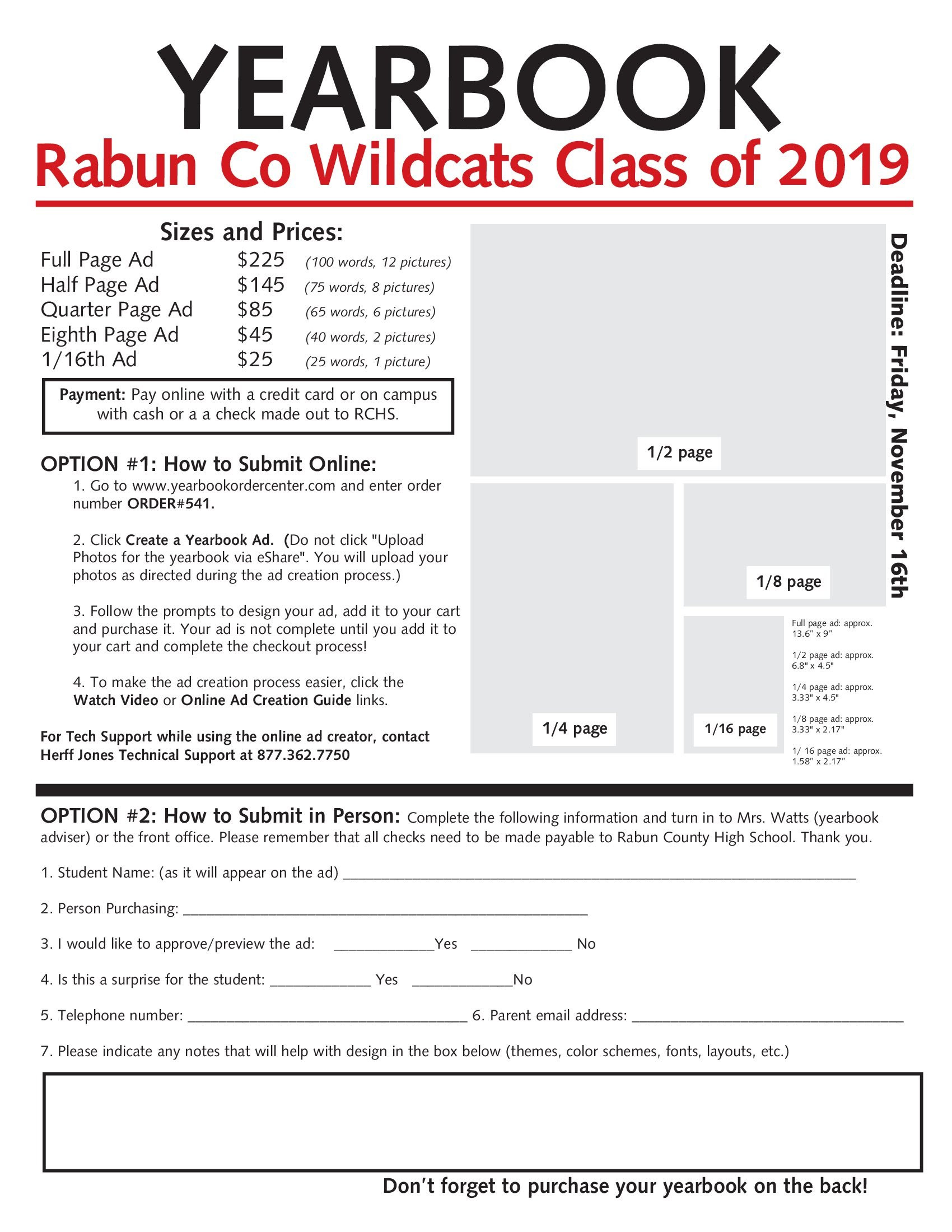 Yearbook order form Template