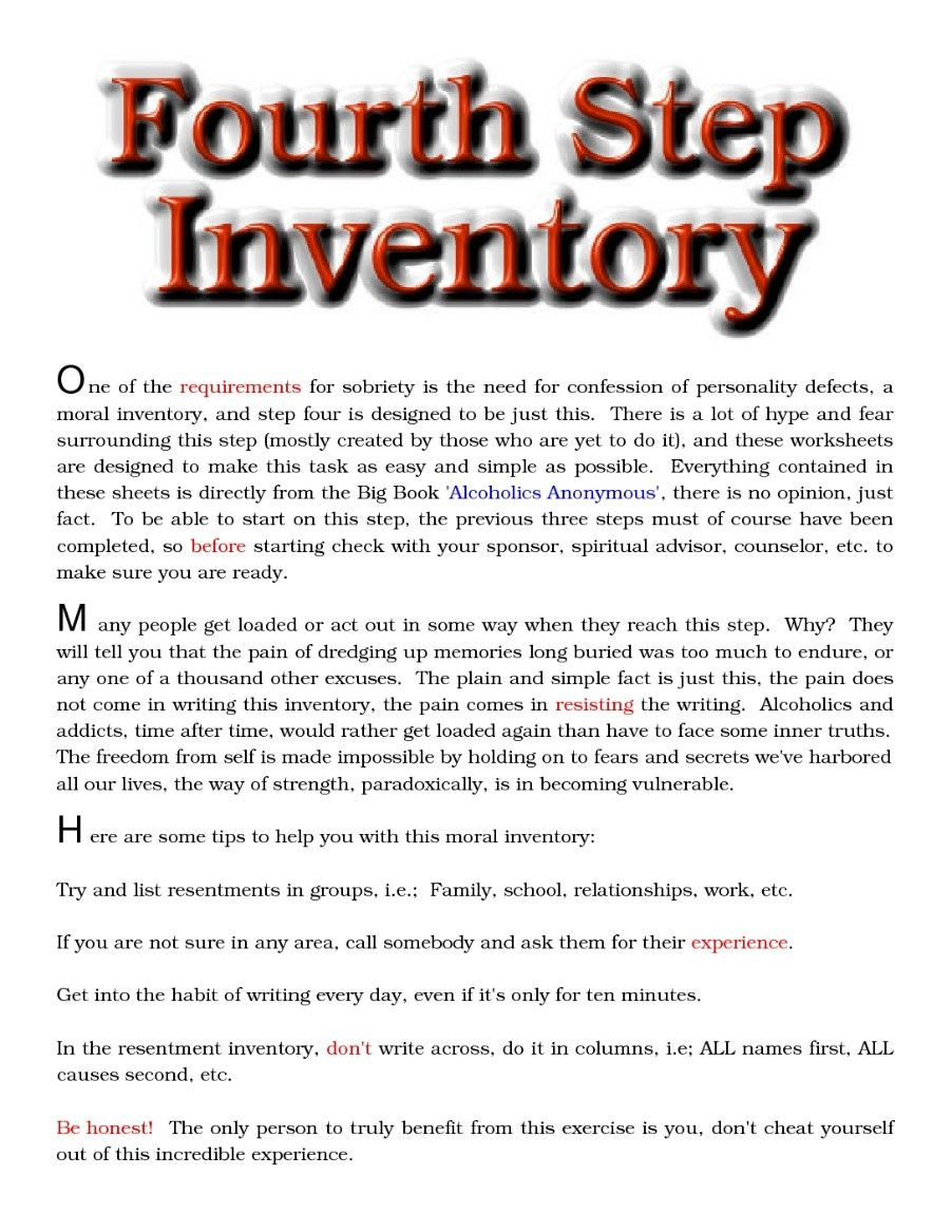 4th Step Inventory Template