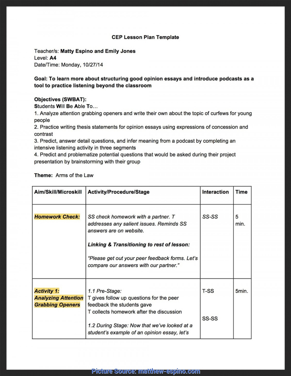 Autism Lesson Plan Template