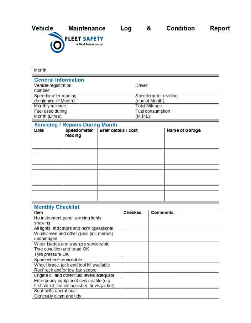 Auto Repair Checklist Template