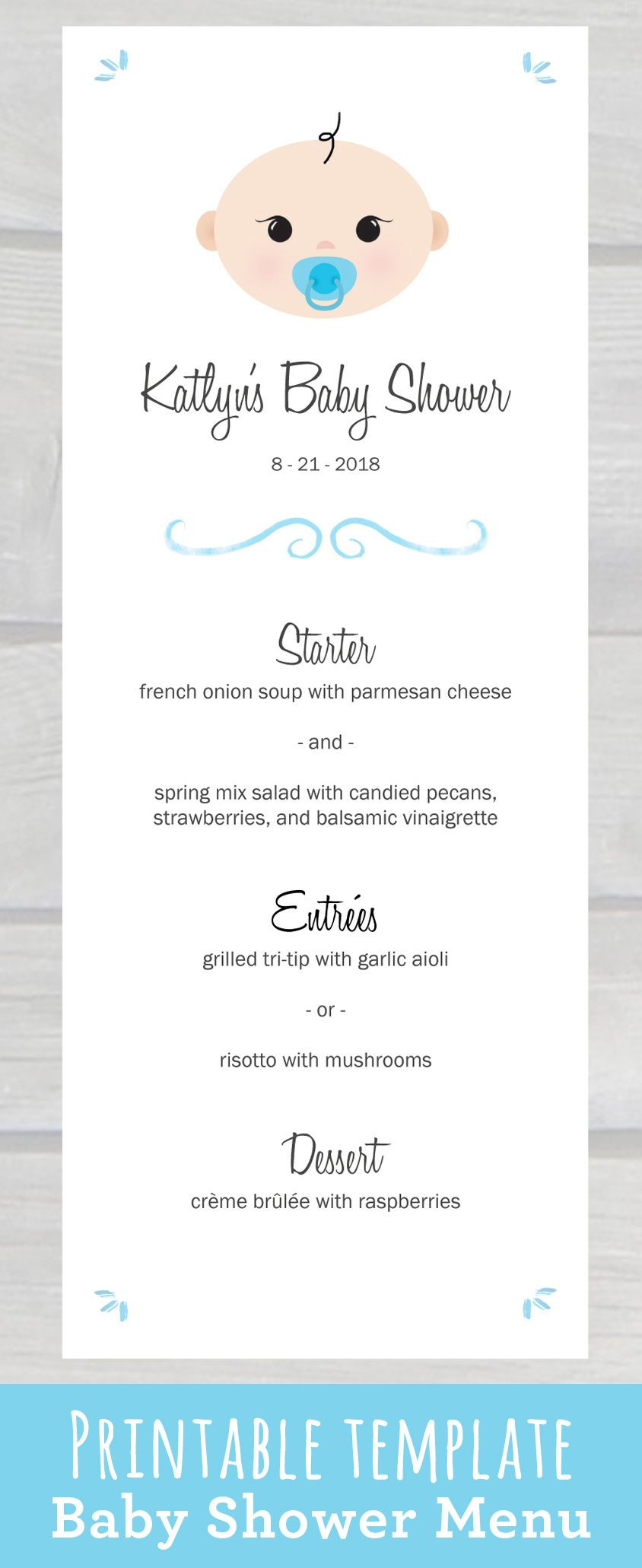 Use this cute Baby Shower Menu Template PDF to edit & print
