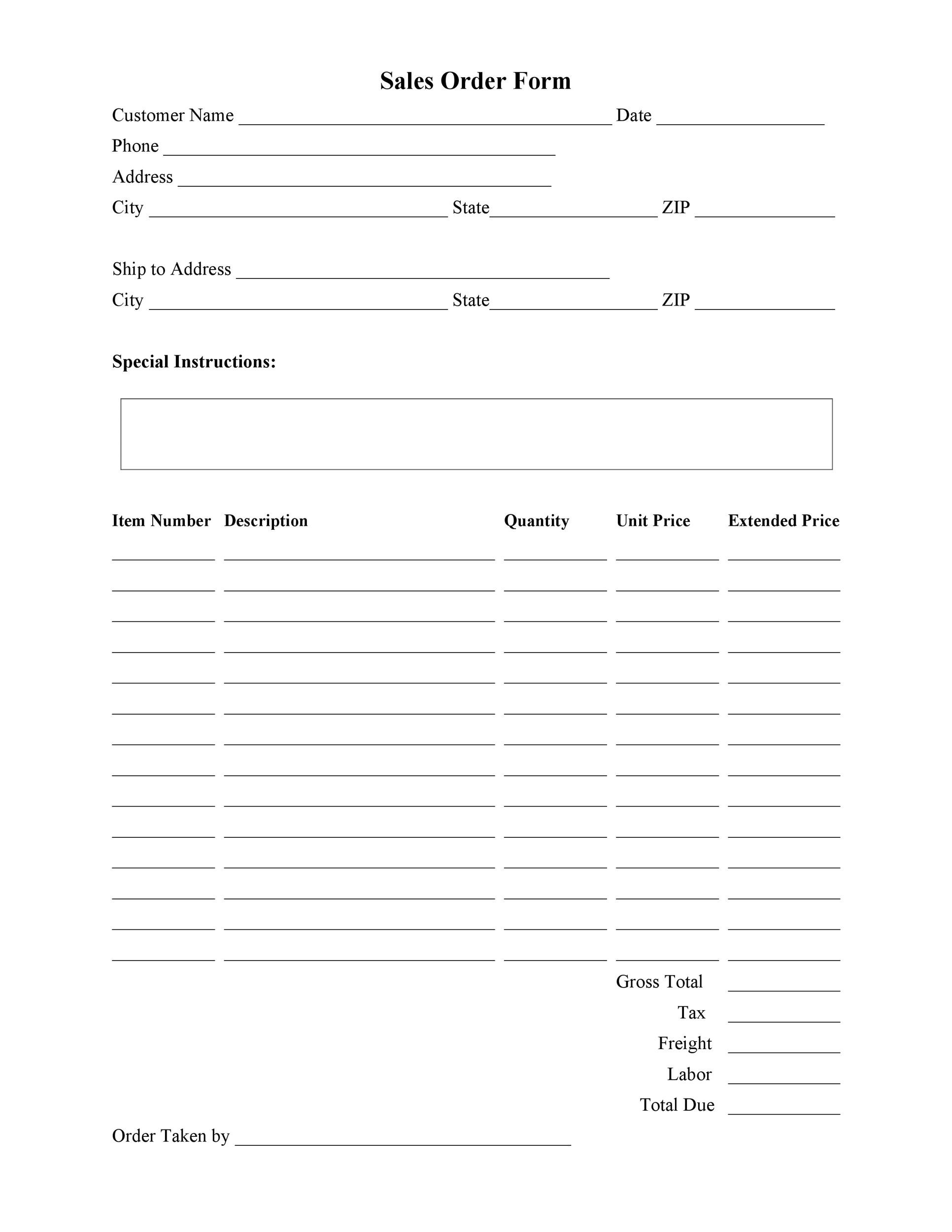 Bakery order forms Template