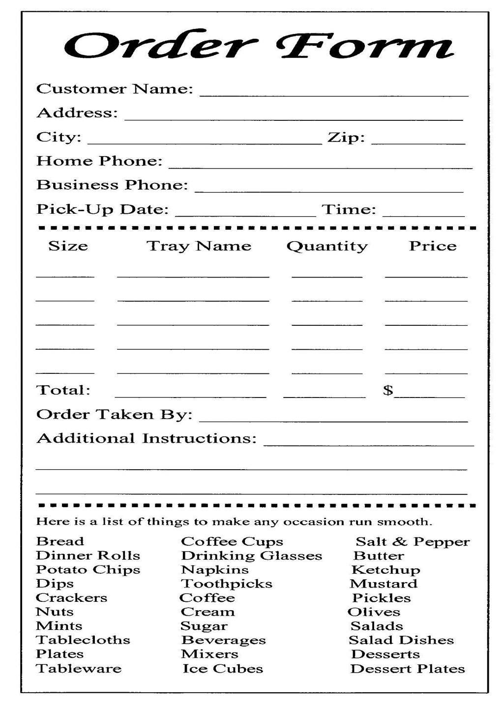 BAKERY ORDER FORM TEMPLATE FREE DOWNLOAD