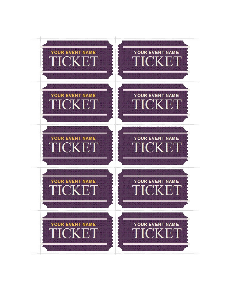 Banquet Tickets Template Free