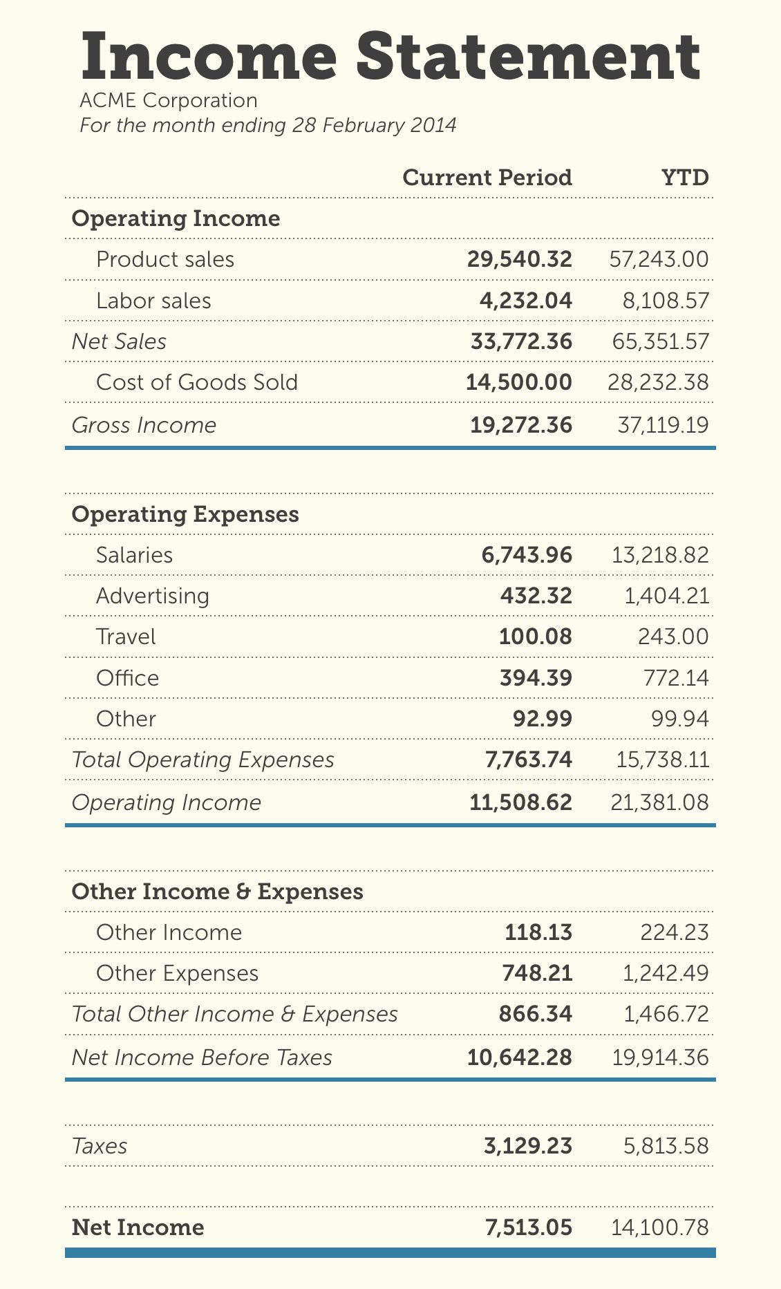 Basic Income Statement Template