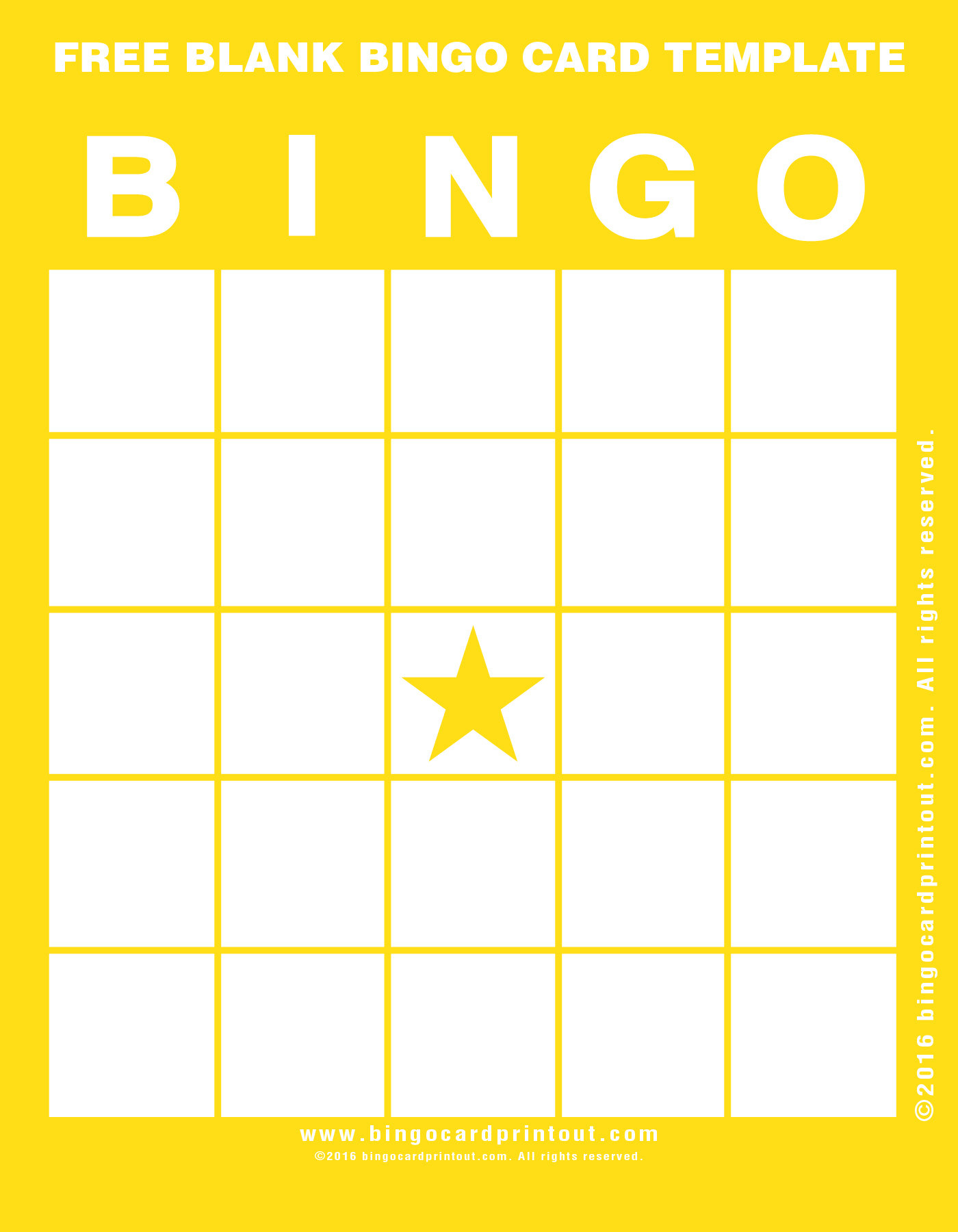 Bingo Card Template Free