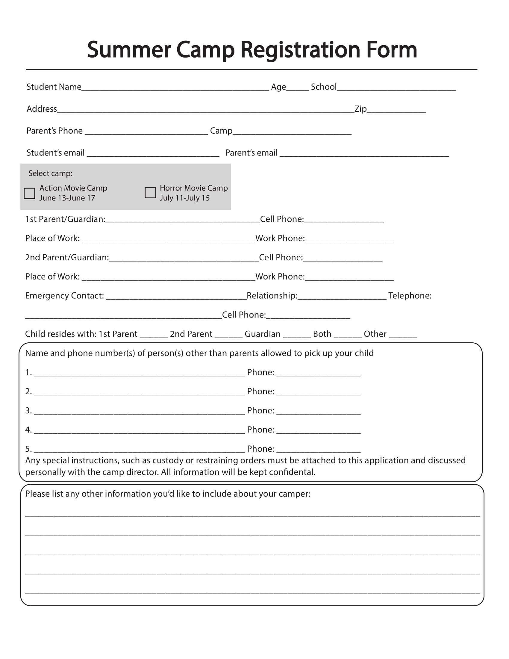 Blank Check Register Template