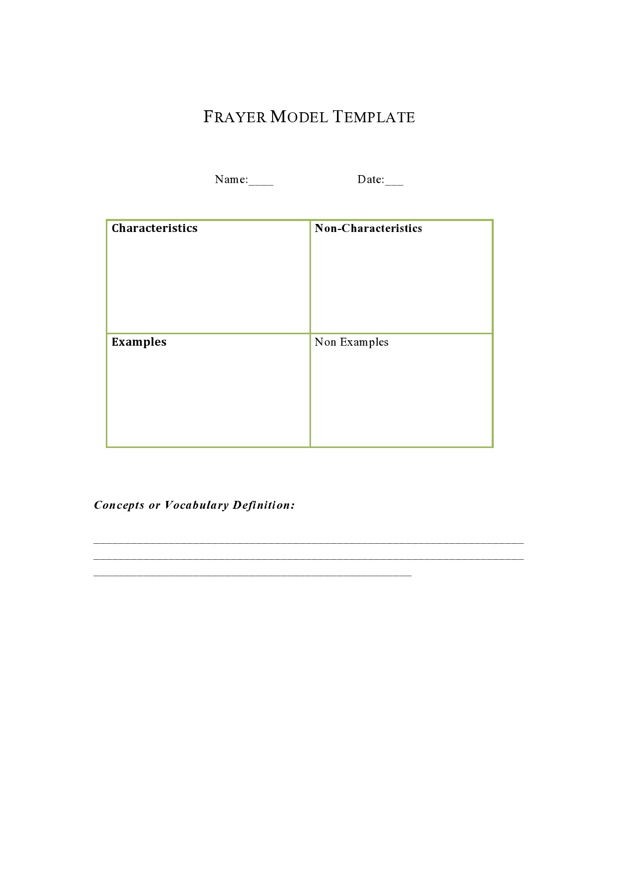 Blank Frayer Model Template