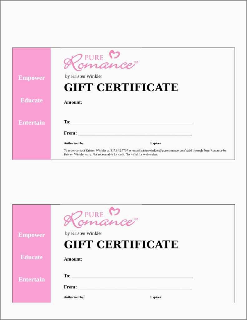 Blank Gift Certificate Template